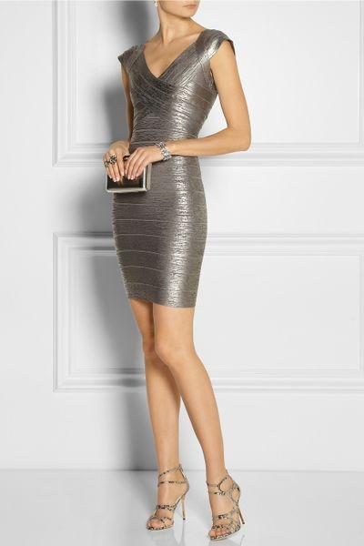 Silver Metallic Dress Bandage Dress in Silver