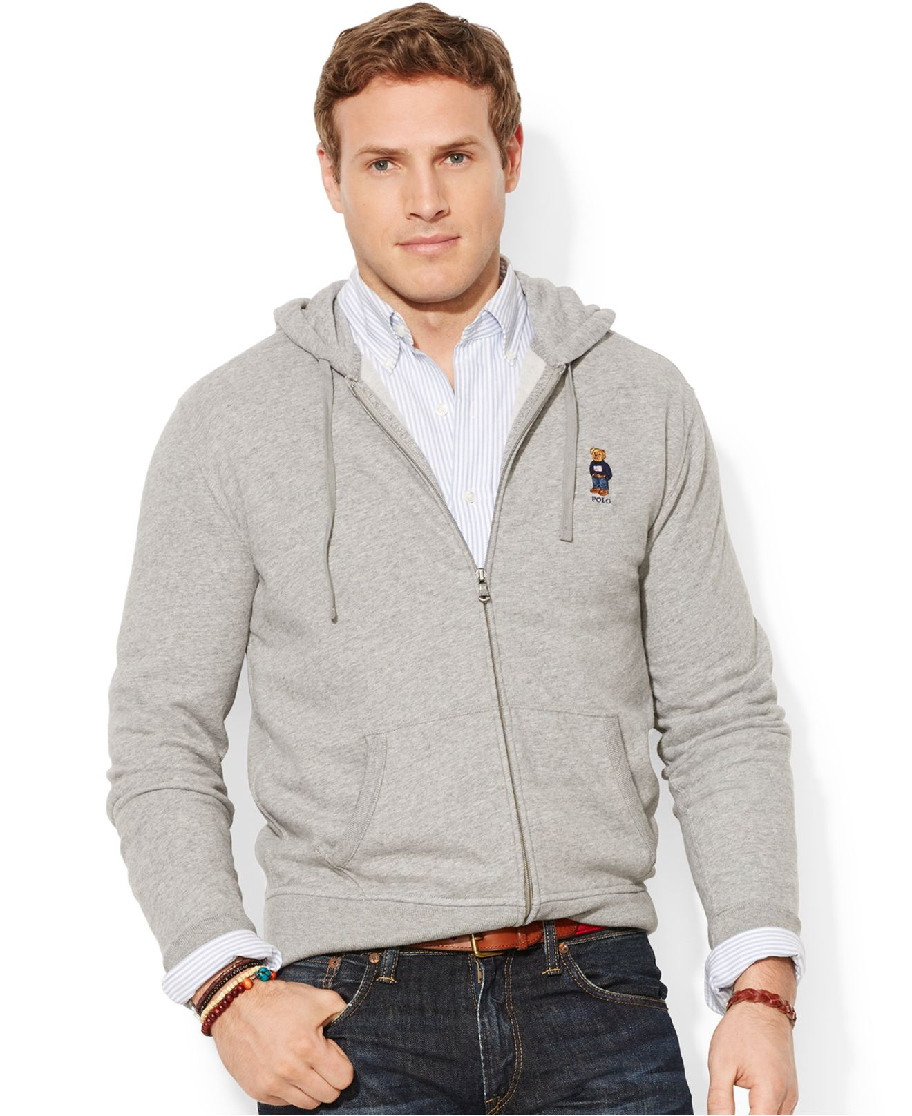 Polo Ralph Lauren Big And Tall Bear Full Zip Fleece Hoodie