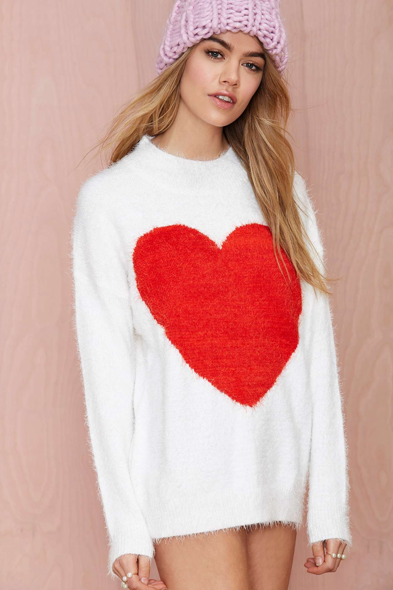 Nasty gal Heart On Fuzzy Sweater in Red | Lyst
