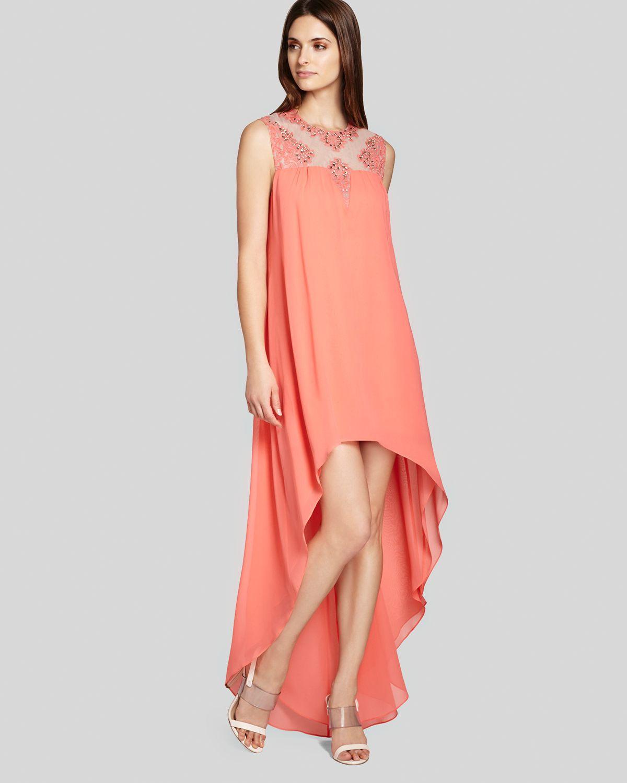 Bcbgmaxazria bcbg max azria gown palm embellished neckline highlow in