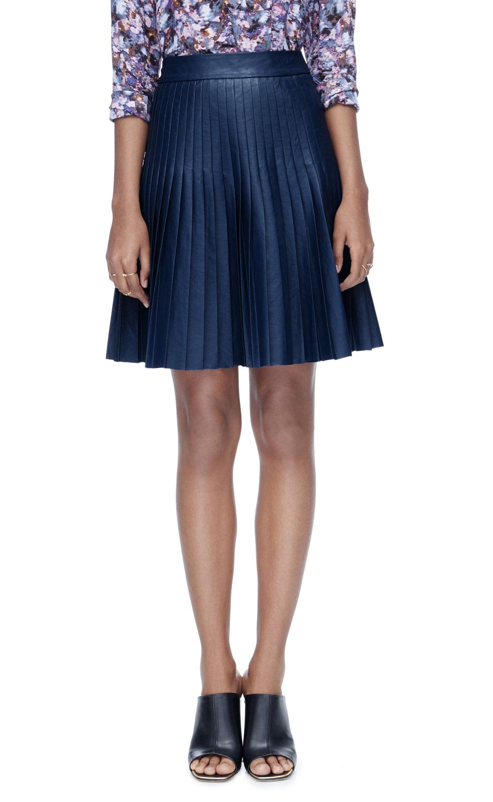 faux leather pleat skirt in blue lyst
