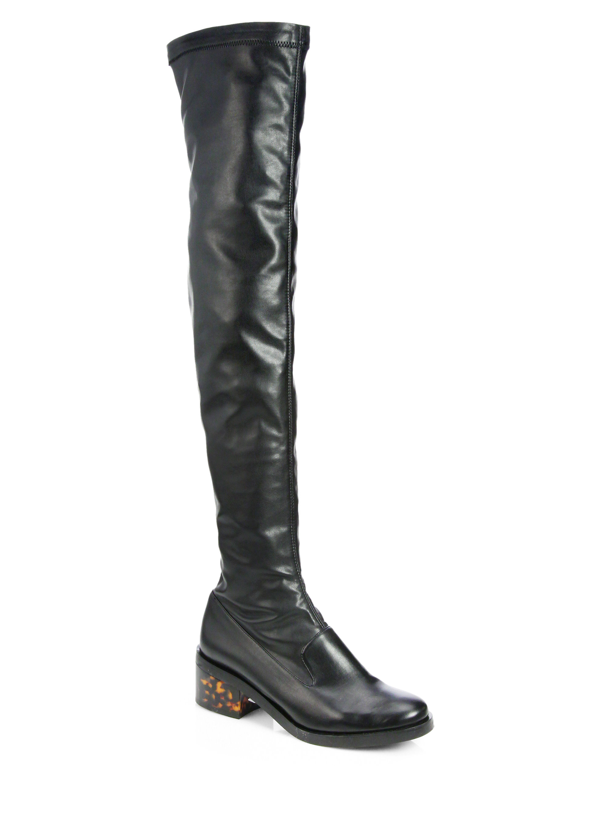 stella mccartney faux stretch leather overtheknee boots in