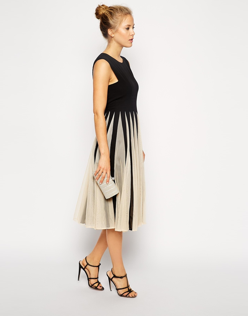 Lyst Asos Mesh Insert Fit And Flare Midi In Black