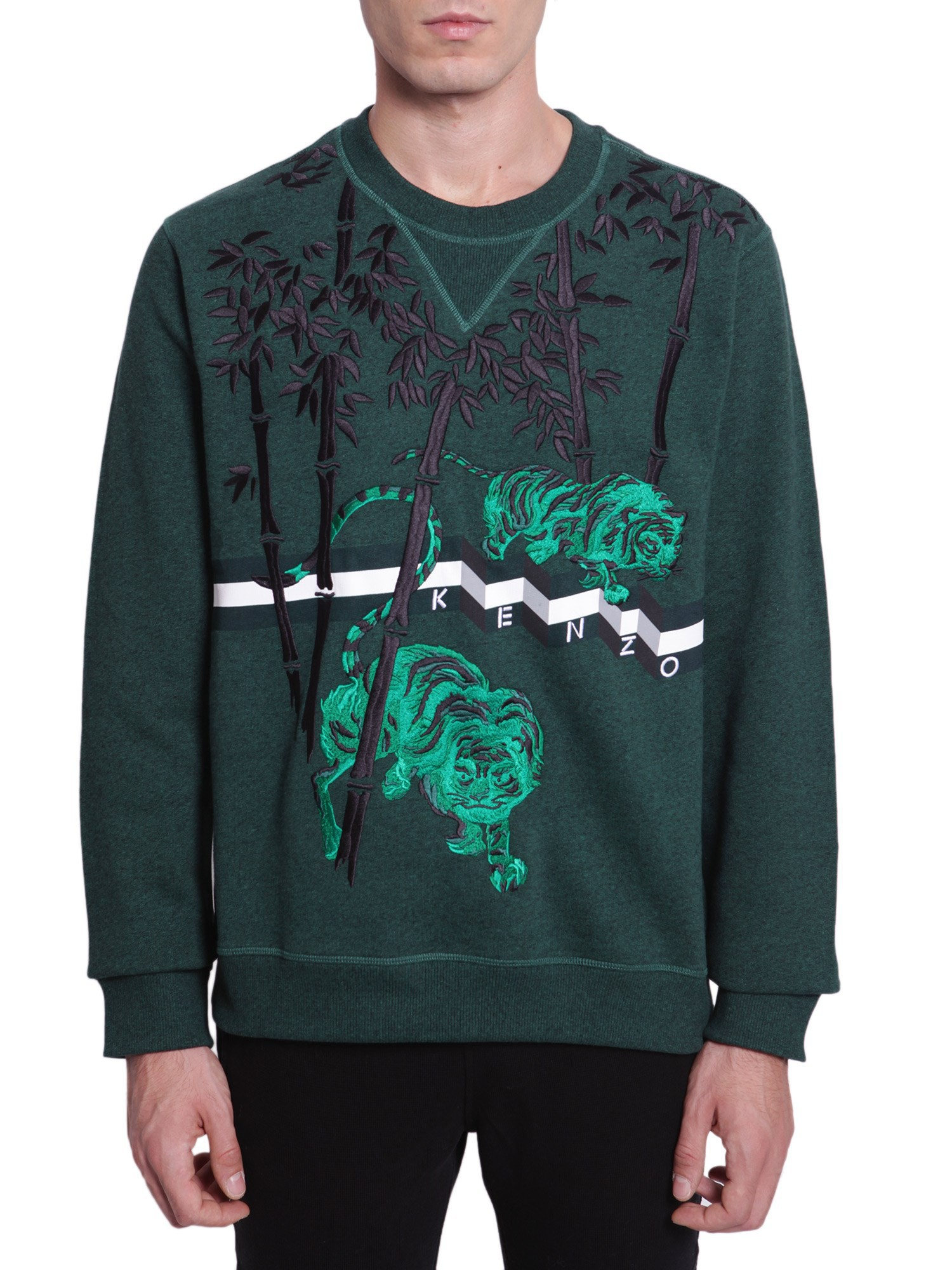 kenzo bamboo tiger sweater in green for men lyst. Black Bedroom Furniture Sets. Home Design Ideas