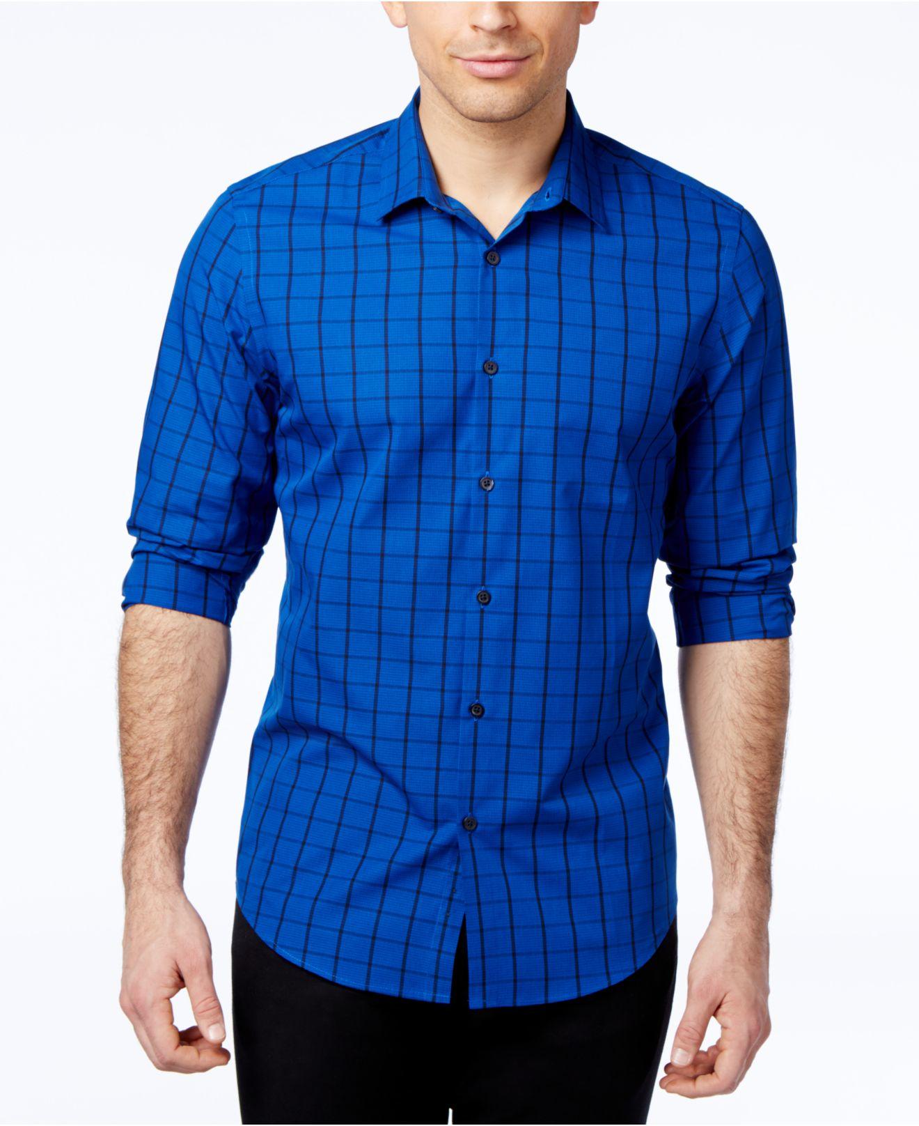 alfani s grid print slim sleeve shirt only at