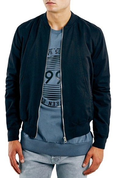 Topman Navy Cotton Bomber Jacket in Blue for Men | Lyst