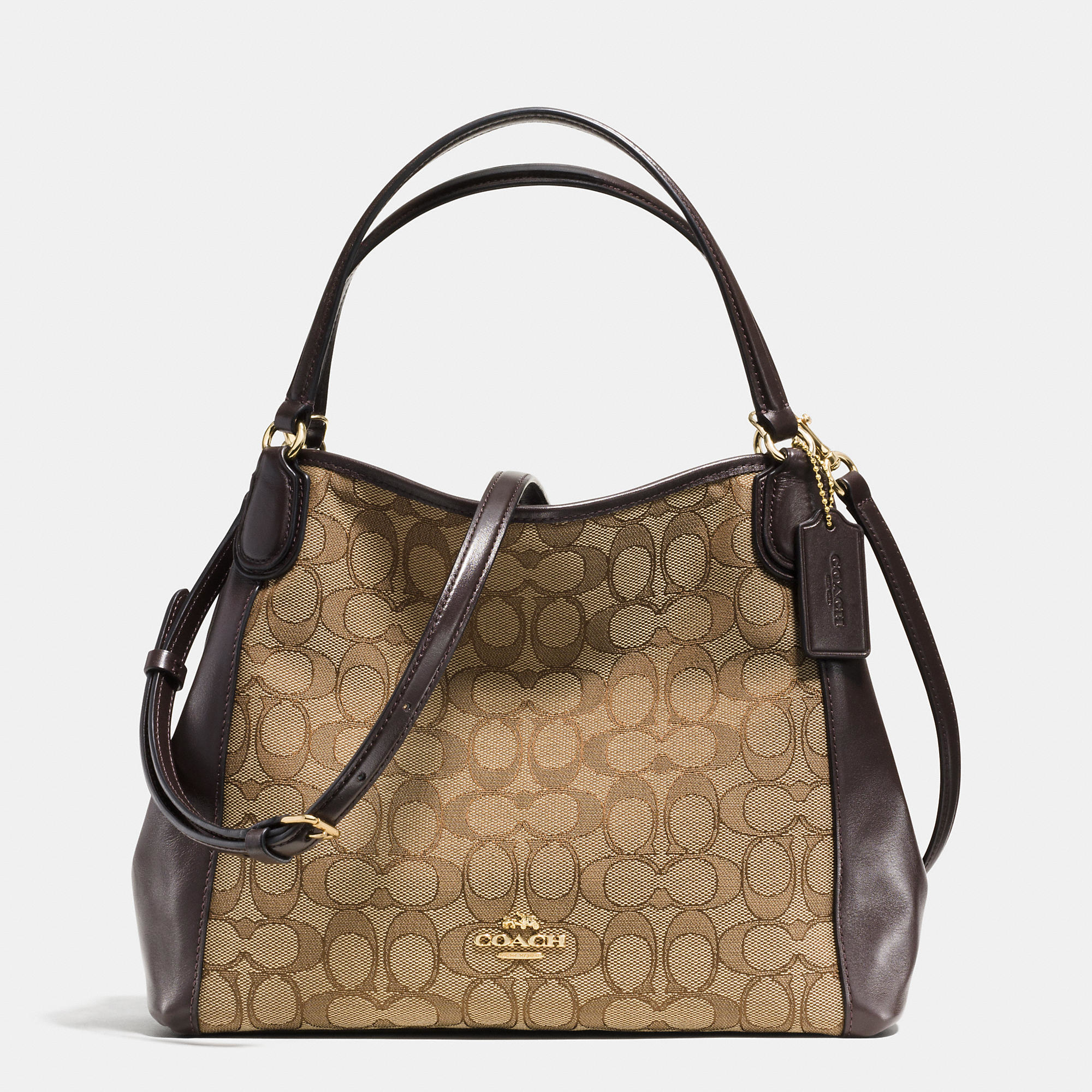 ... netherlands lyst coach edie shoulder bag 28 in signature jacquard in  brown 15119 654c9 e023a1f65755a