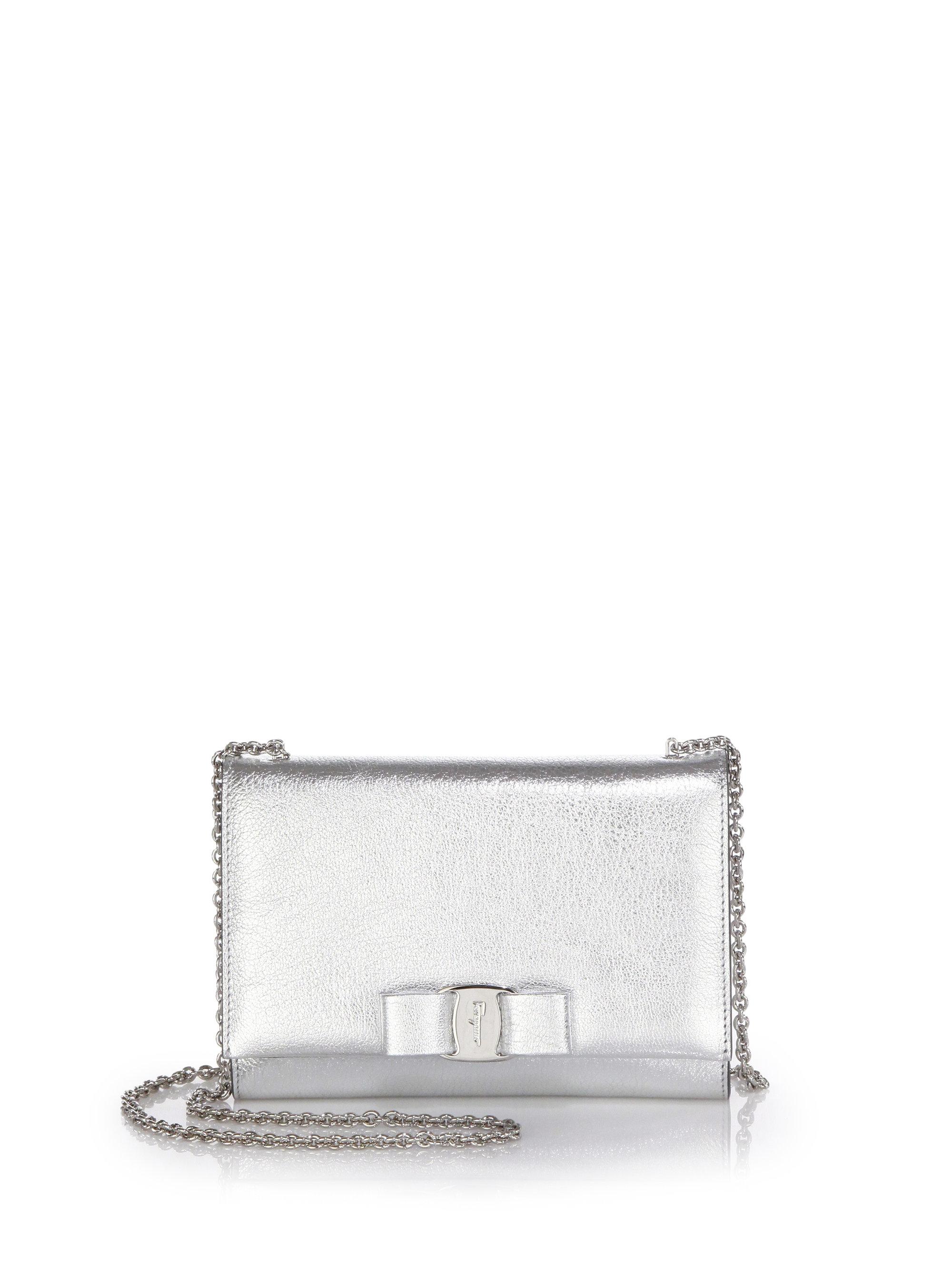 Lyst - Ferragamo Miss Vara Mini Metallic Leather Bow Crossbody Bag ... d6cad8db4ace7