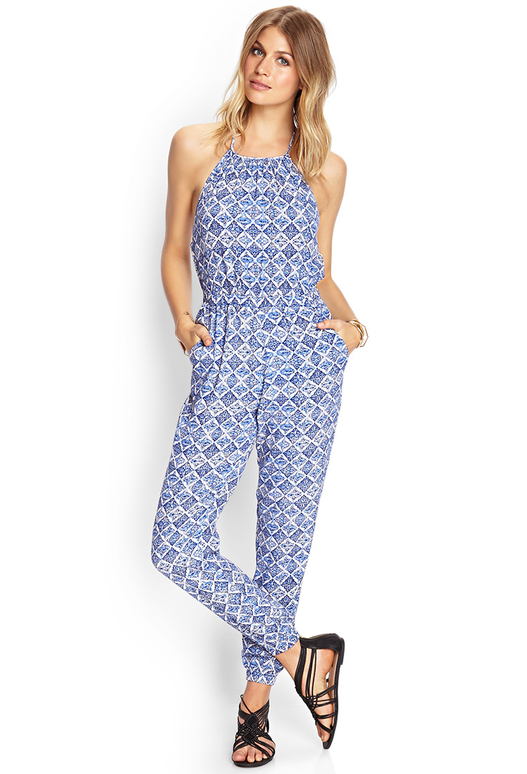 06640bc3730 Lyst - Forever 21 Mosaic Woven Halter Jumpsuit in Blue