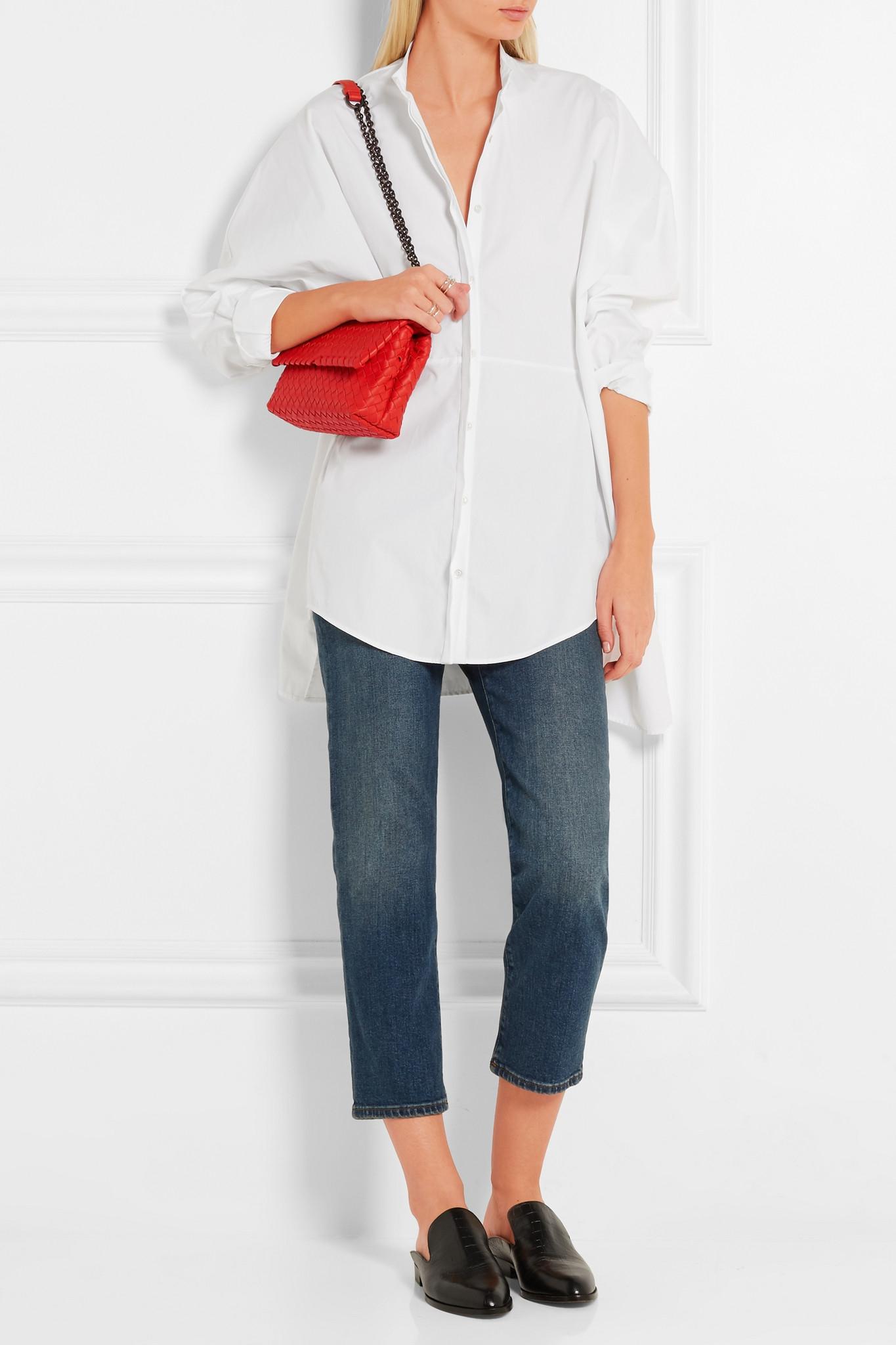 b078c772e945 Bottega Veneta Olimpia Mini Intrecciato Leather Shoulder Bag in Red ...