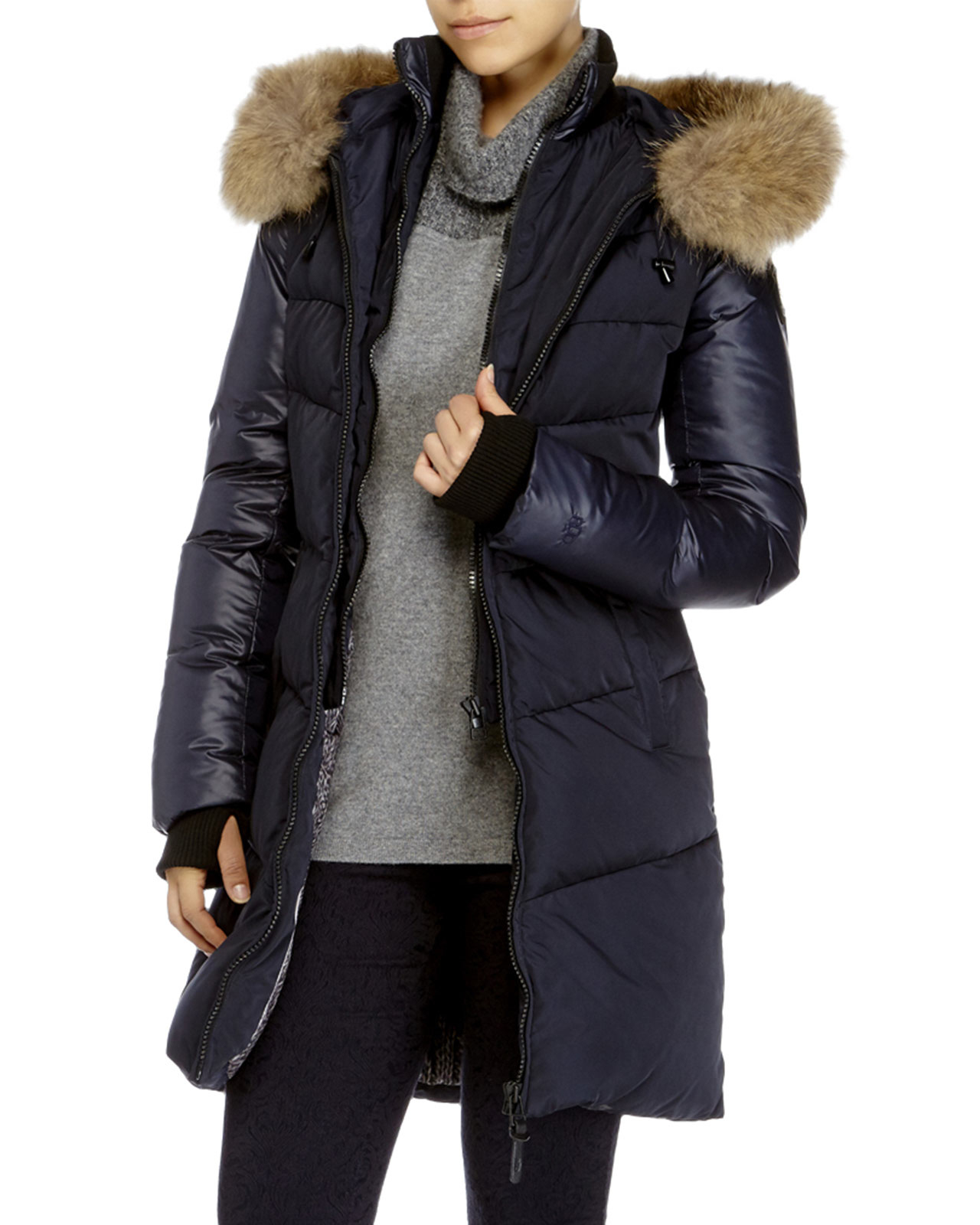 Rud styled by rudsak Mya Real Fur Trim Hooded Down Coat in Black ...