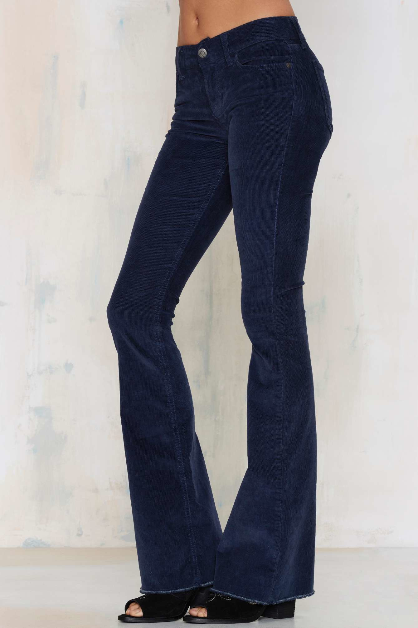 Nasty gal Flair For Flare Corduroy Pants in Blue | Lyst