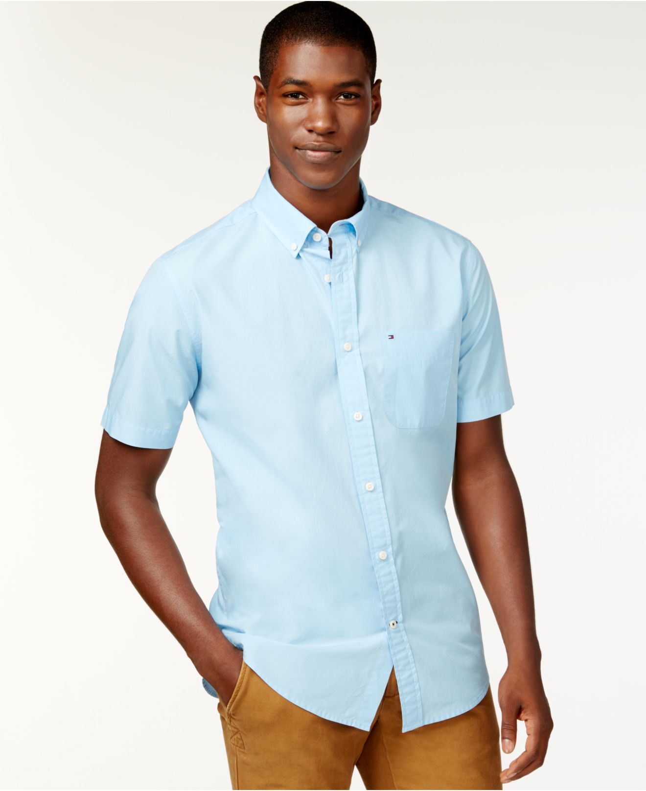 Tommy hilfiger Maxwell Short-sleeve Button-down Shirt in Blue for ...