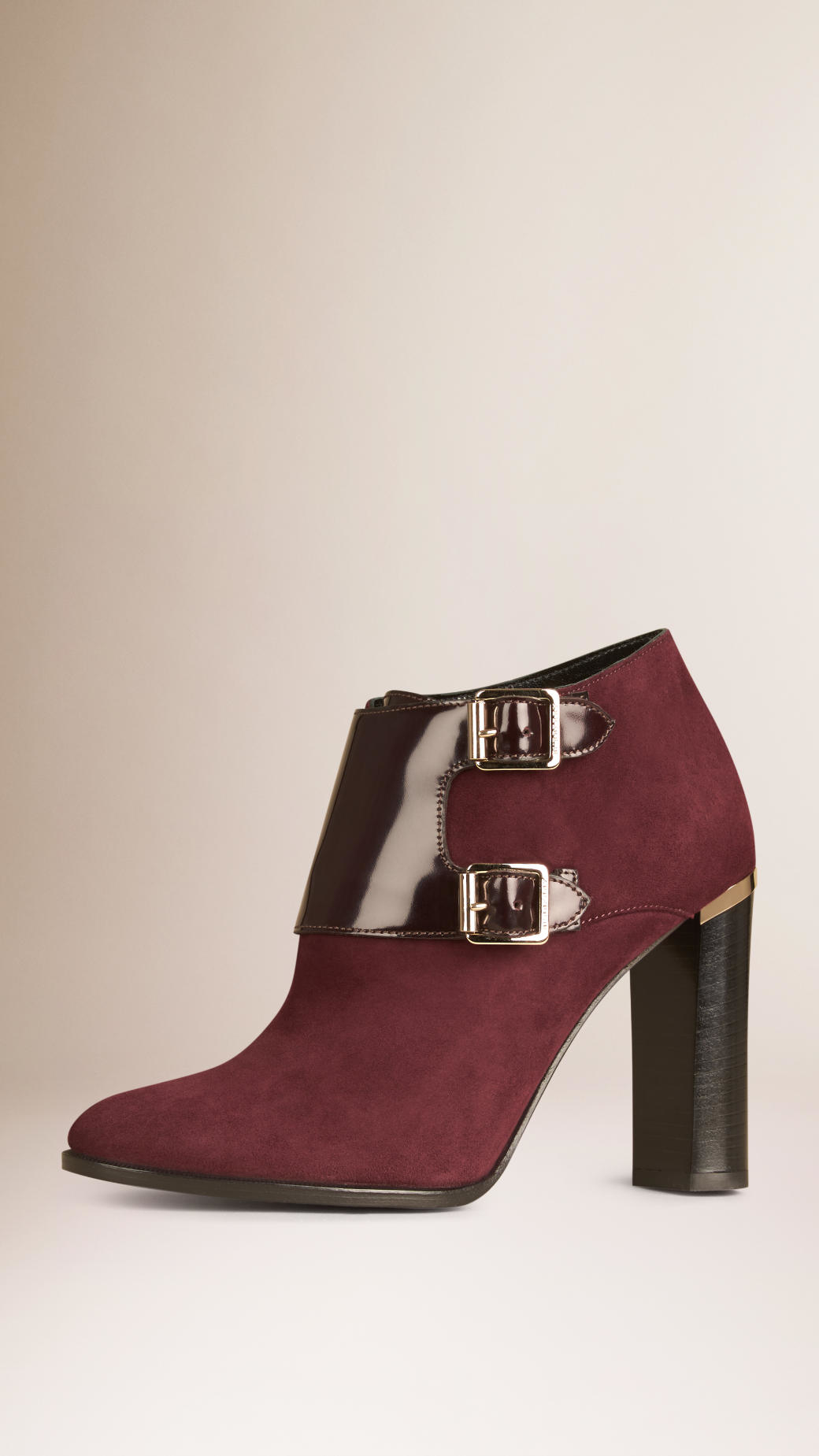burberry buckle detail suede and leather ankle boots in