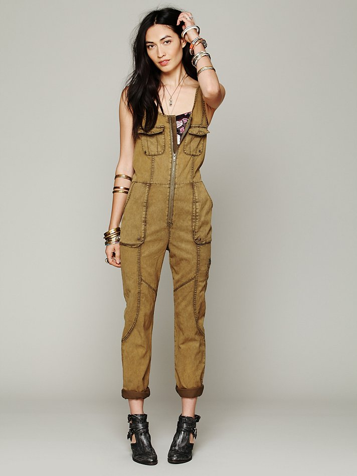 b3fa60e6e8c Lyst - Free People Adorned Utility Jumpsuit in Green