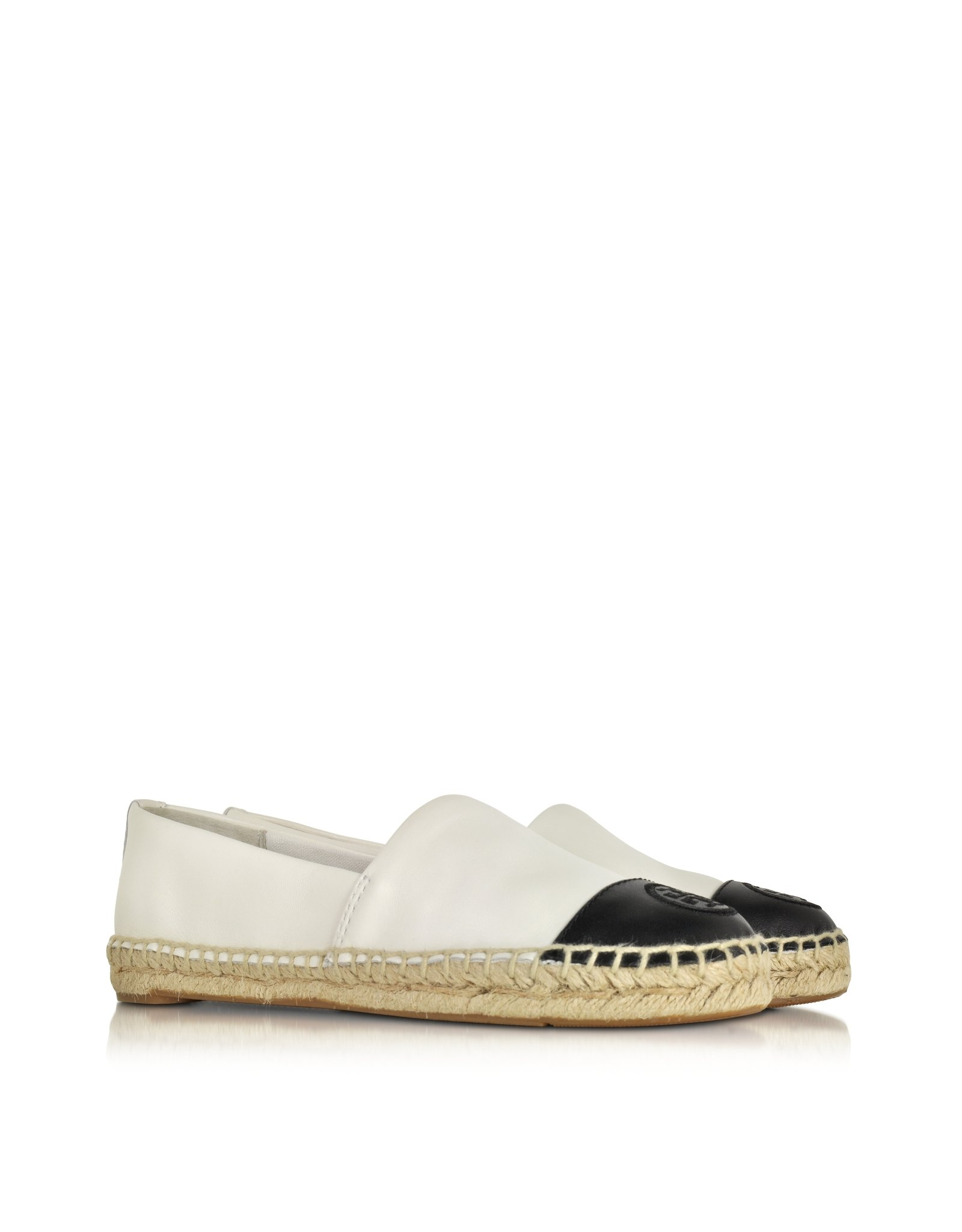 b0a700a96348 Lyst - Tory Burch Color Block Leather Flat Espadrille in White