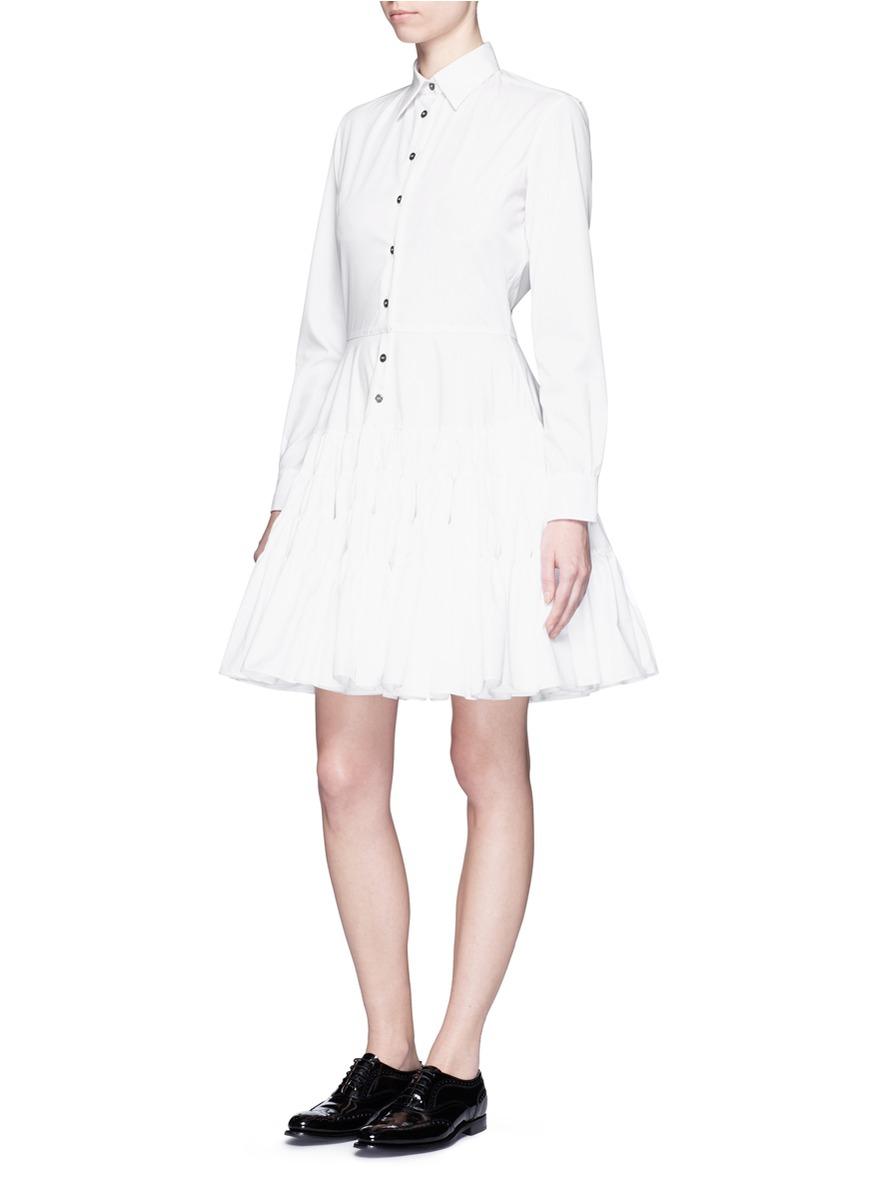 Lyst Jourden Gathered Skirt Poplin Shirt Dress In White