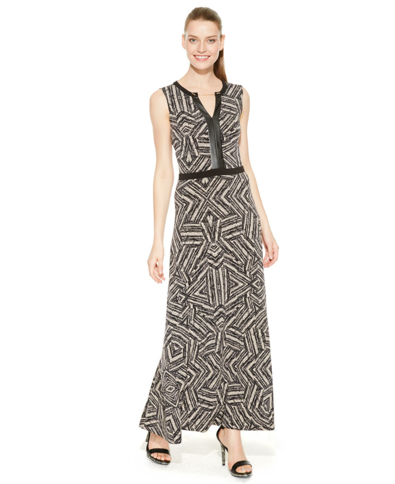 27fc8a158c4 Calvin Klein Printed Faux-leather-trim Maxi Dress in Black - Lyst