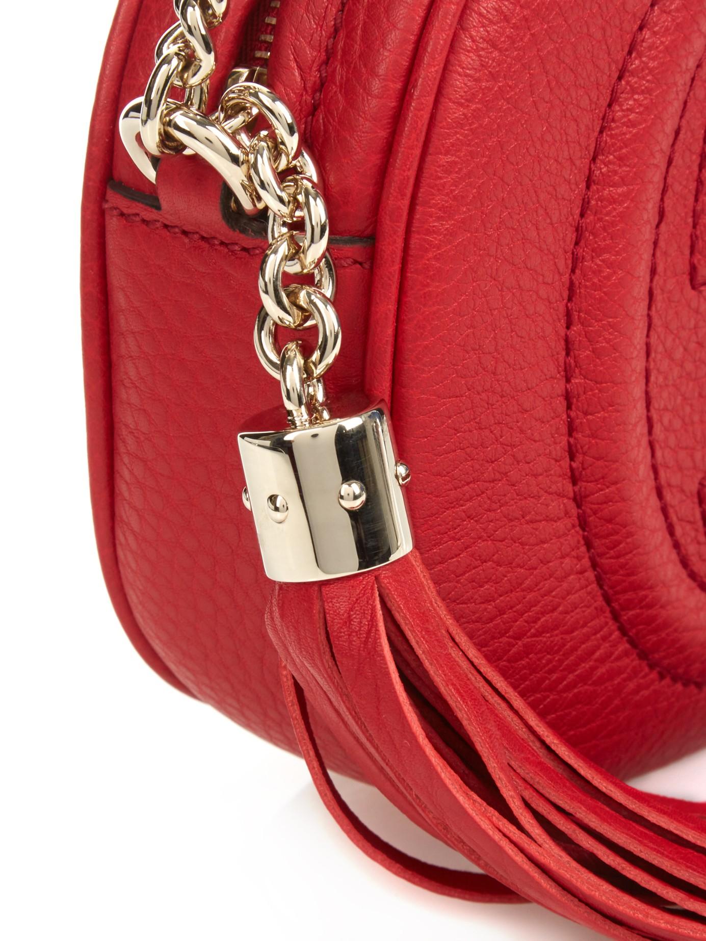 6f54f303ad2f Lyst - Gucci Mini Soho Chain-Strap Cross-Body Bag in Red
