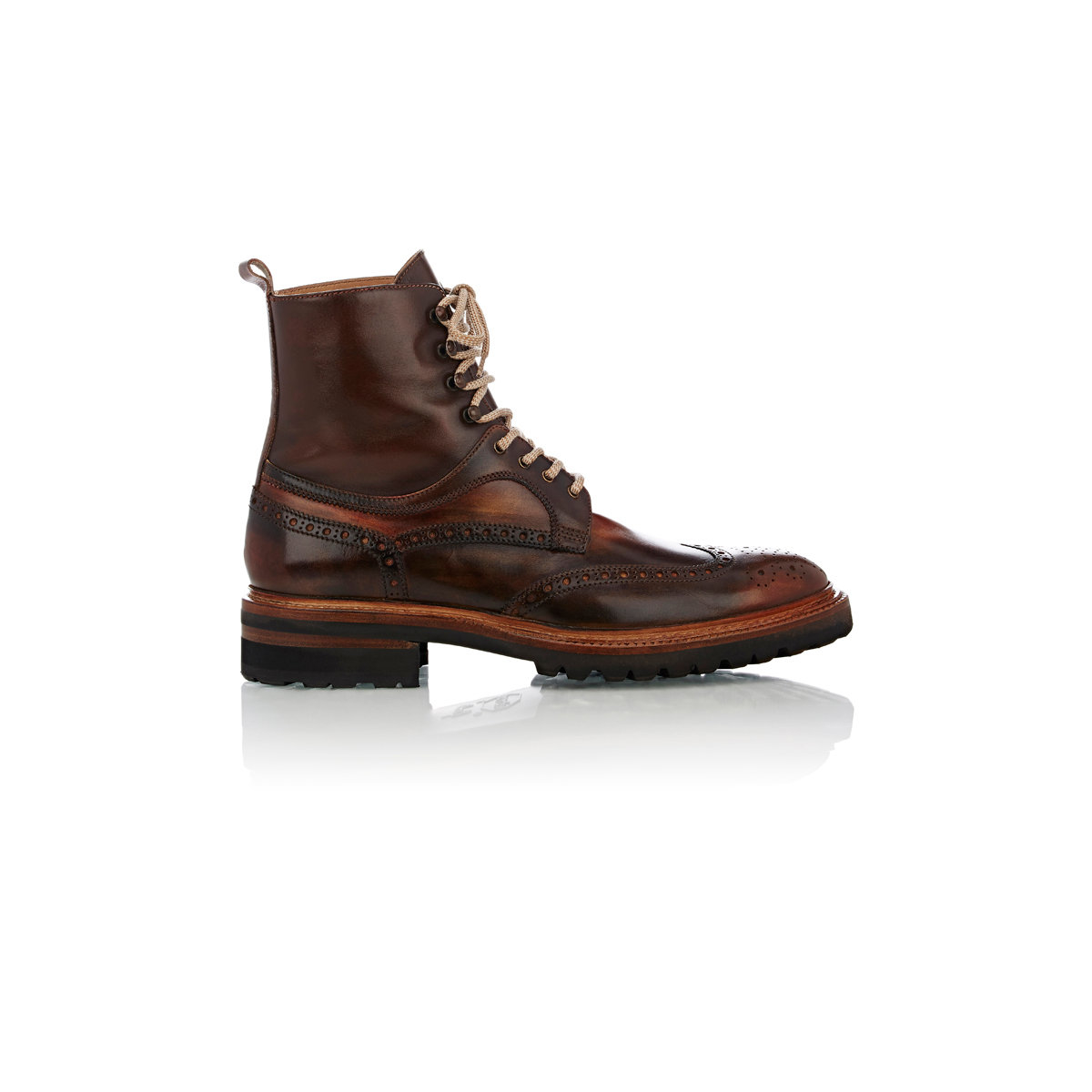 harris wingtip leather ankle boots in brown for save