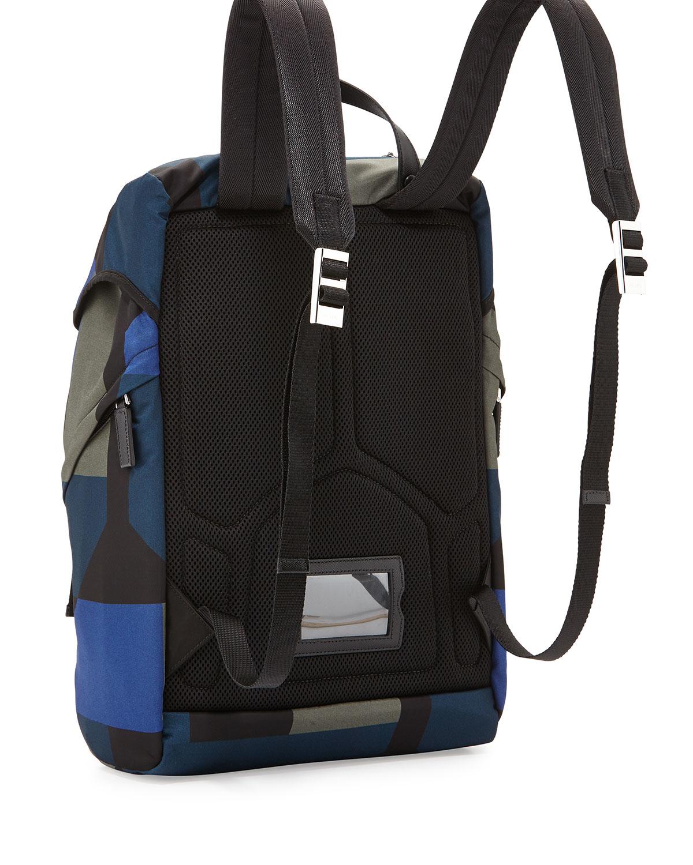 prada wallet on chain price - Prada Men's Hexagon-print Nylon Backpack in Blue for Men | Lyst