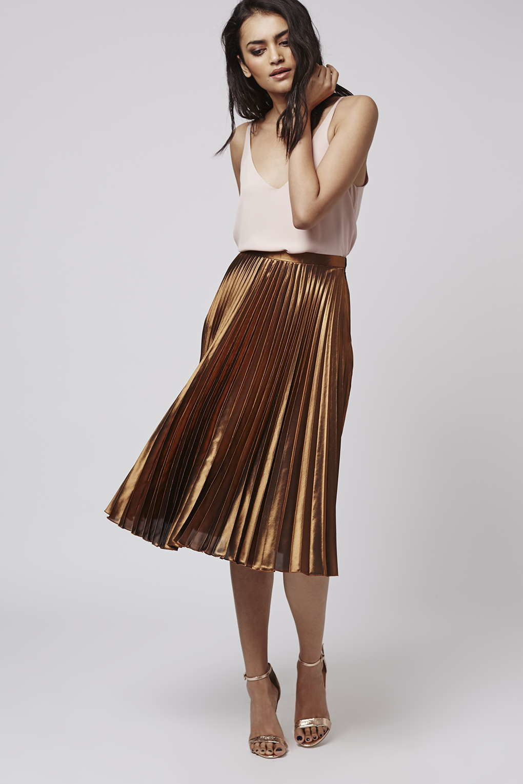 Topshop Foil Pleated Midi Skirt in Metallic | Lyst