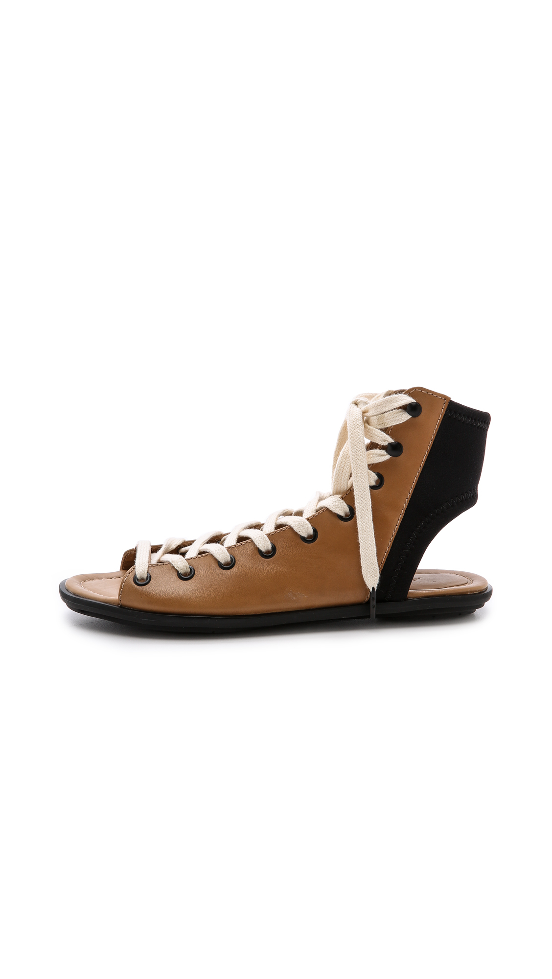Lyst Atelje71 Fidelio Lace Up Sandals Camel Black In Brown