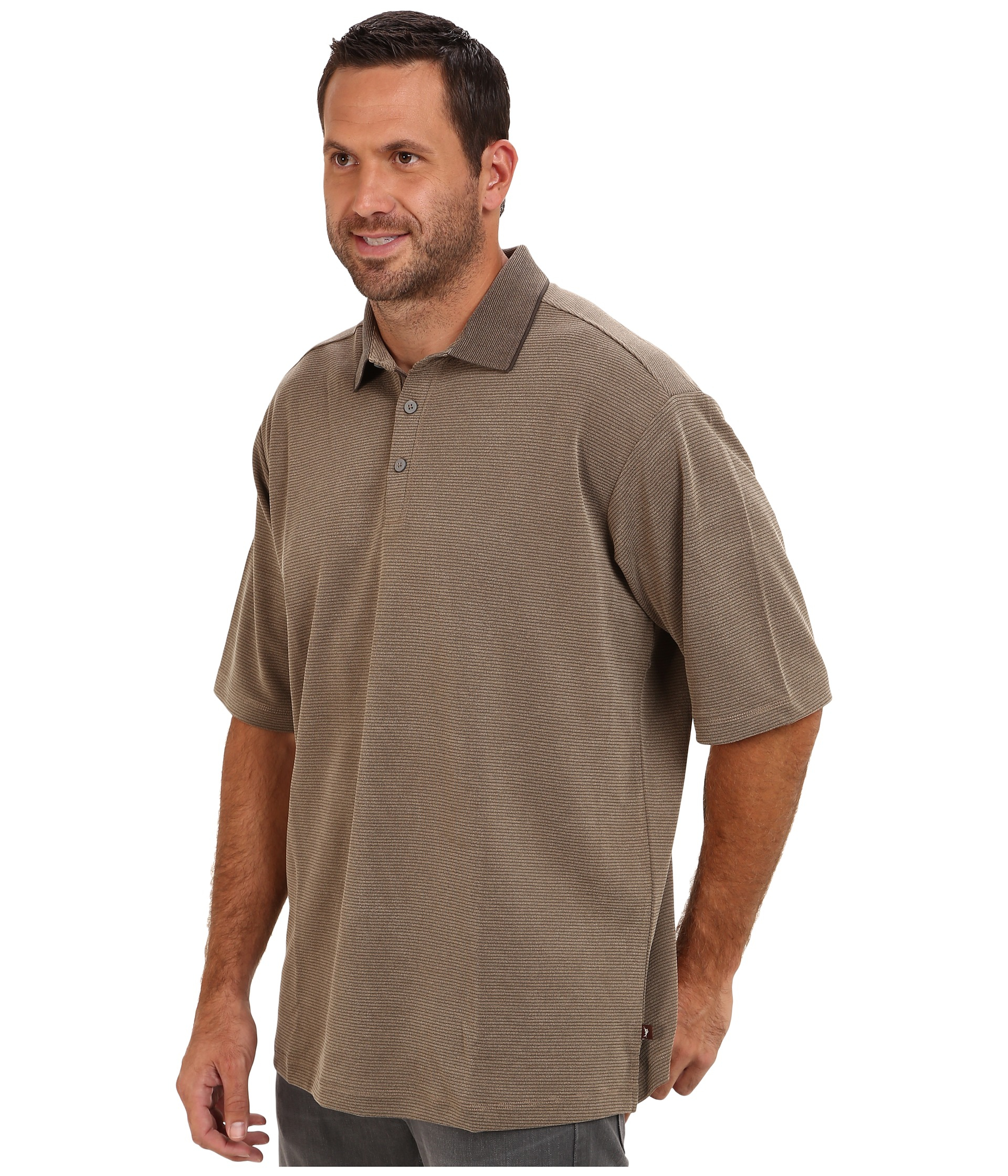 Tommy bahama big tall sand drift stripe polo shirt in for Light brown polo shirt