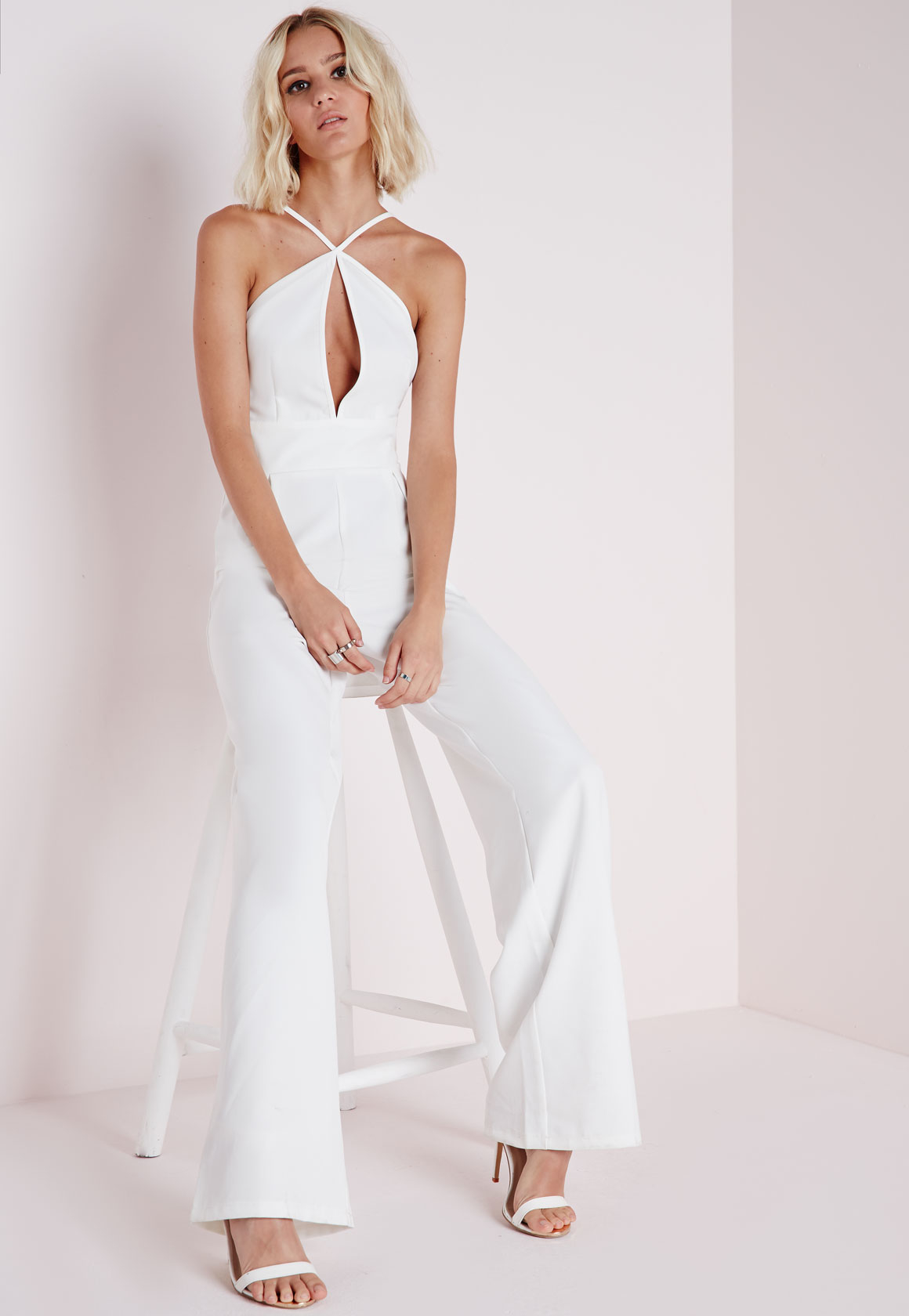 b37b8e9fcd9 Lyst - Missguided Keyhole Wide Leg Jumpsuit White in White