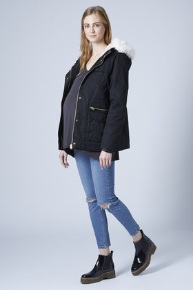 Topshop Maternity Short Padded Parka Jacket in Blue | Lyst