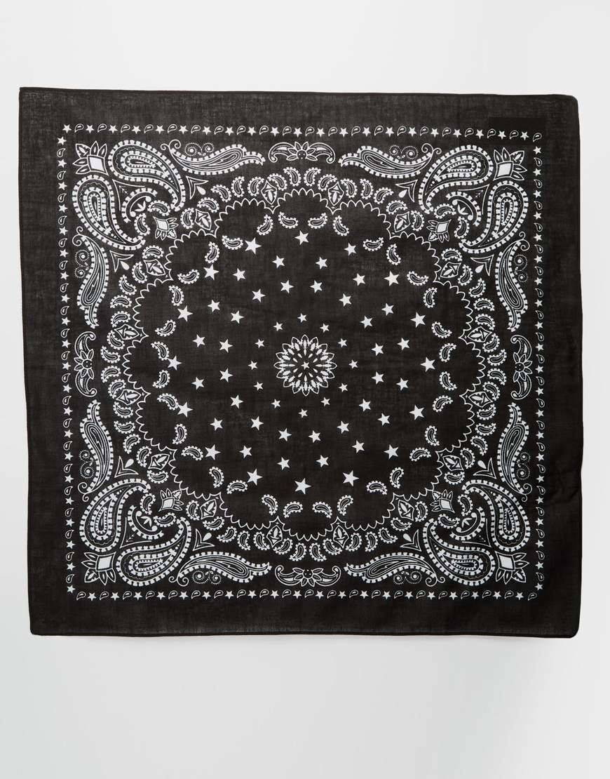 Asos Star And Paisley Bandana Neckerchief in Black | Lyst
