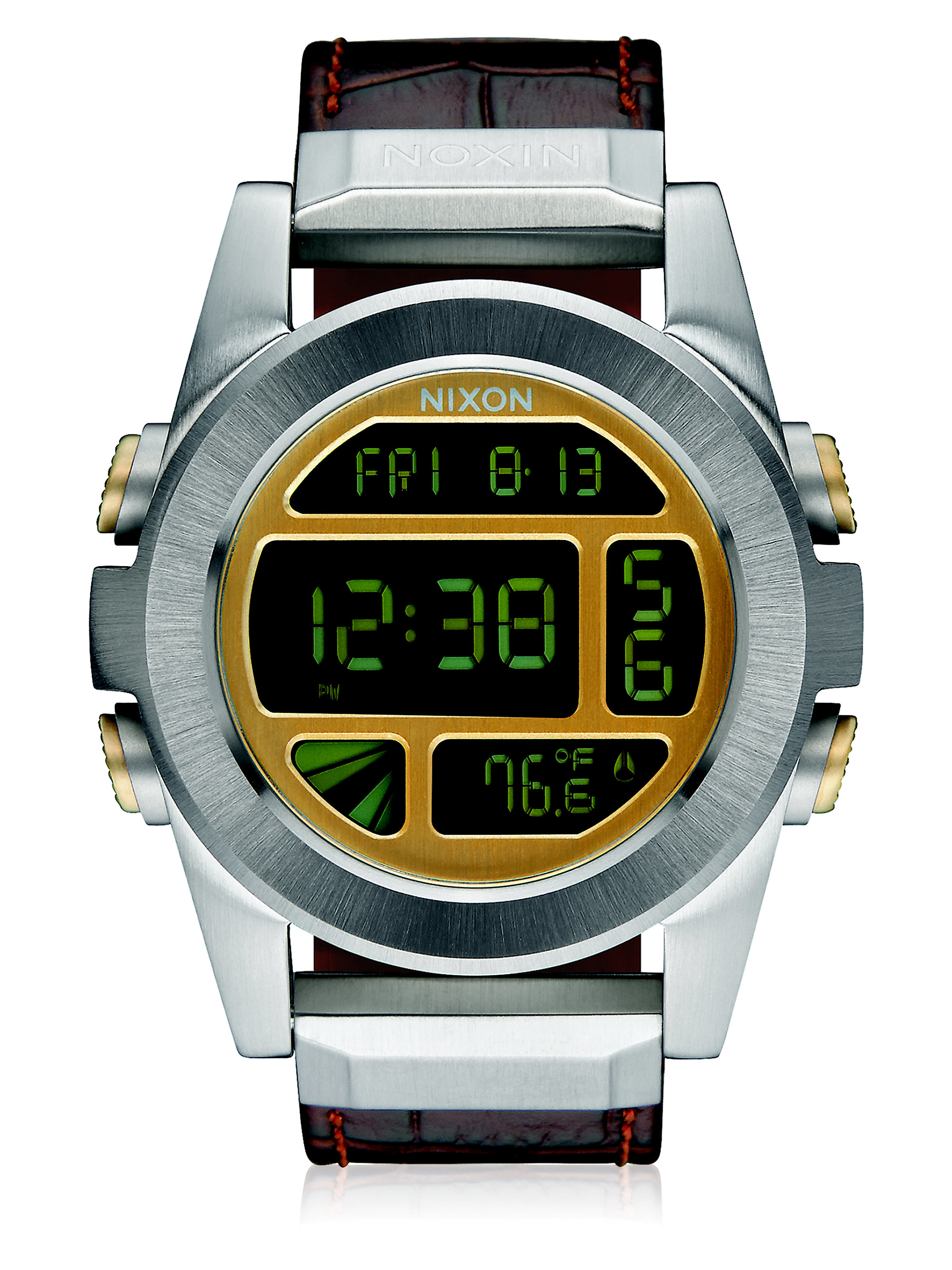 nixon unit digital stainless steel leather in