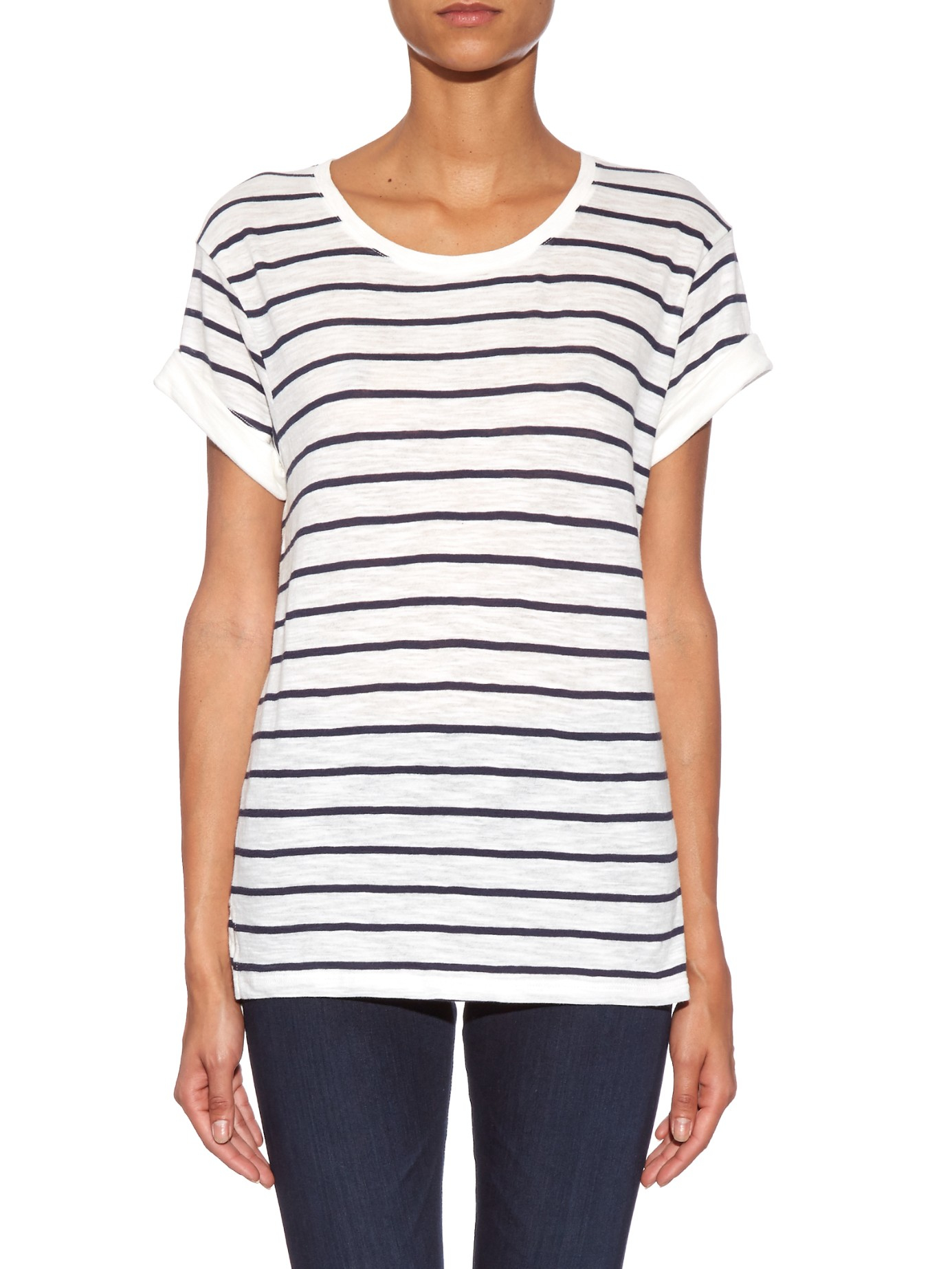 Vince striped short sleeved cotton t shirt in white lyst for Vince tee shirts sale