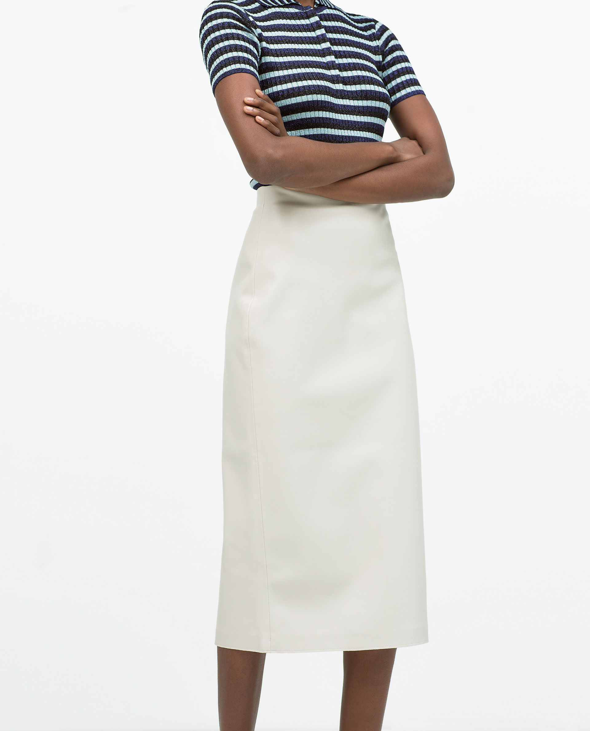 Zara Faux Leather Midi Pencil Skirt in White | Lyst