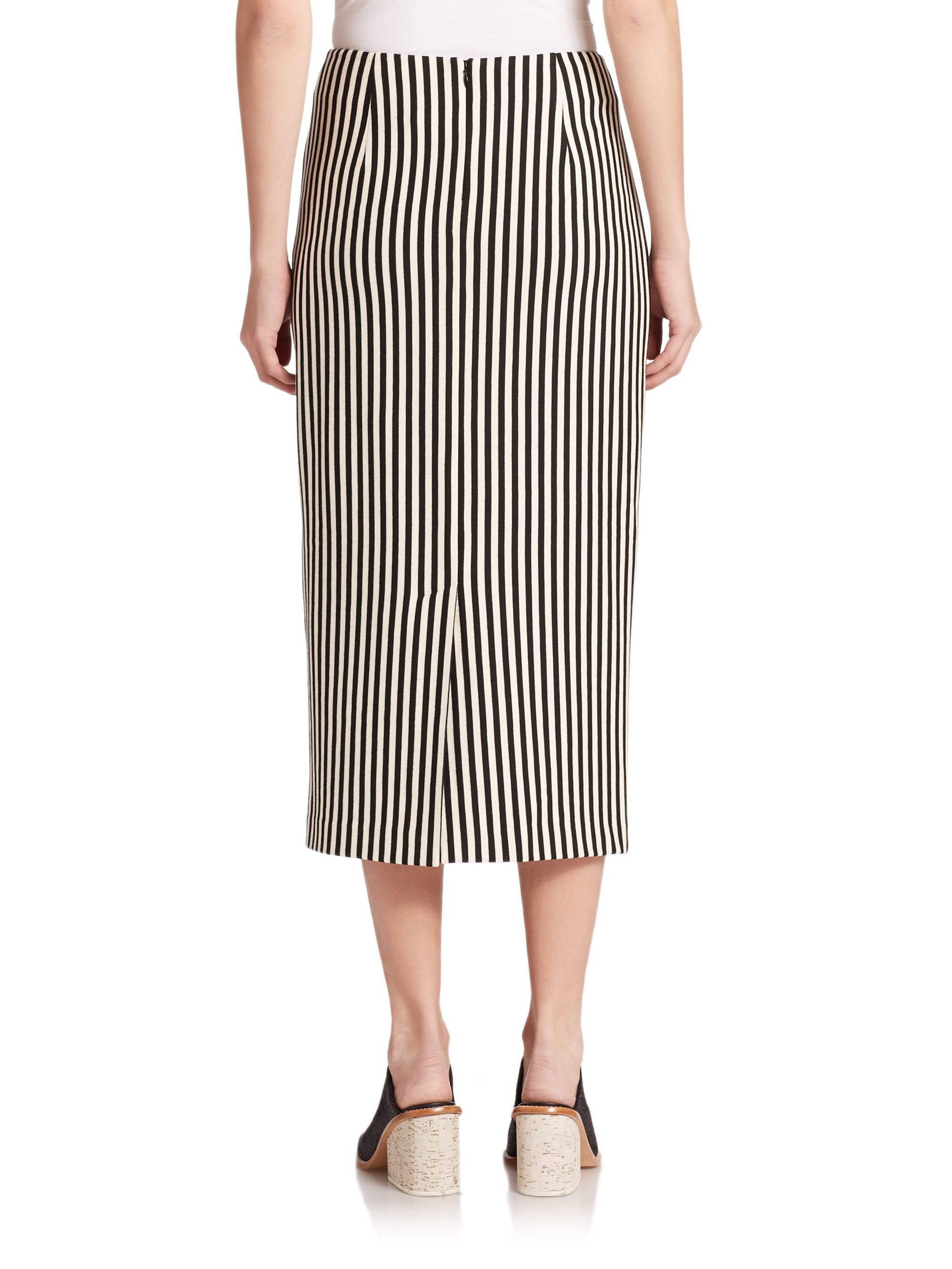 tibi ren stripe midi skirt in black lyst