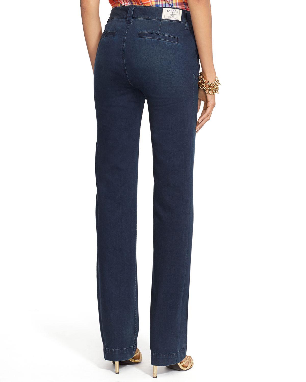 Ralph lauren Lauren Cassie Wide Leg Sailor Jeans In Blue Black in ...