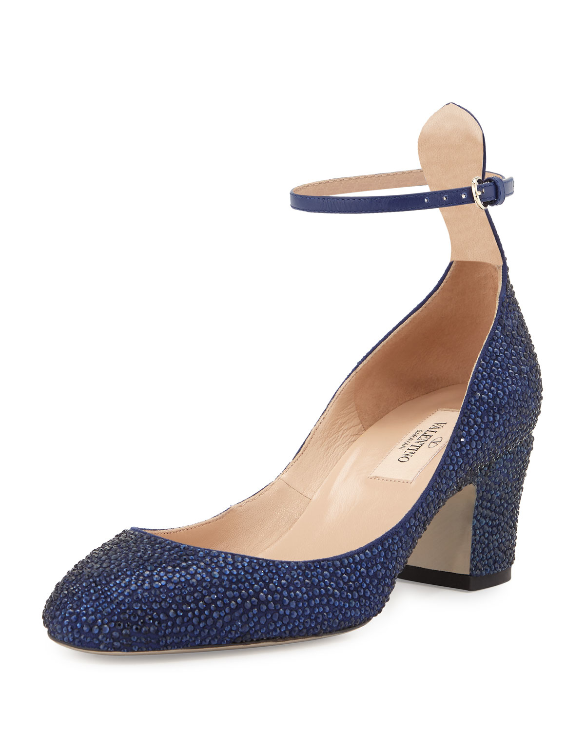 5f6f41eb7bf4 Lyst - Valentino Tango Crystallized Ankle-wrap Pump in Blue