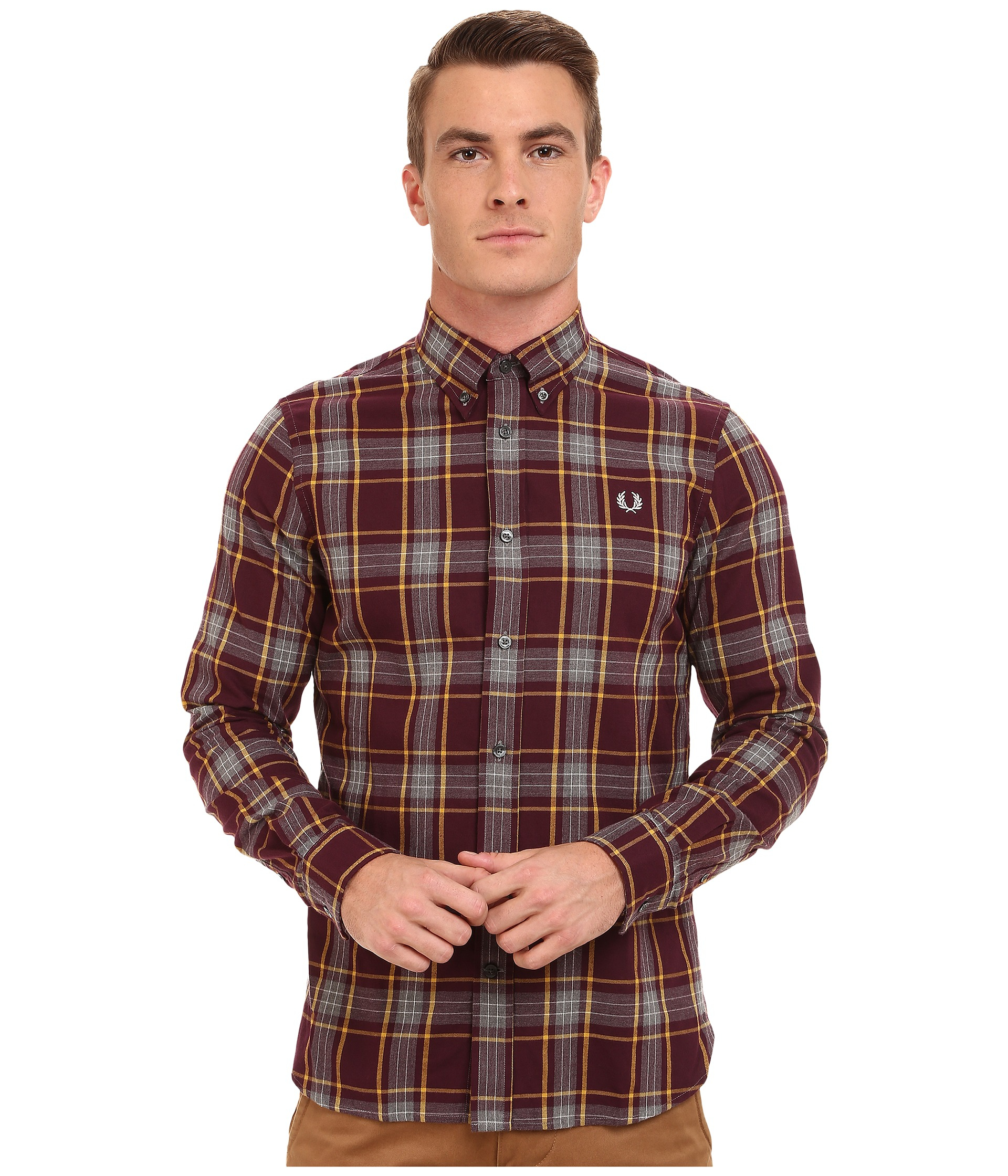 Fred perry Marl Winter Check Shirt in Brown for Men
