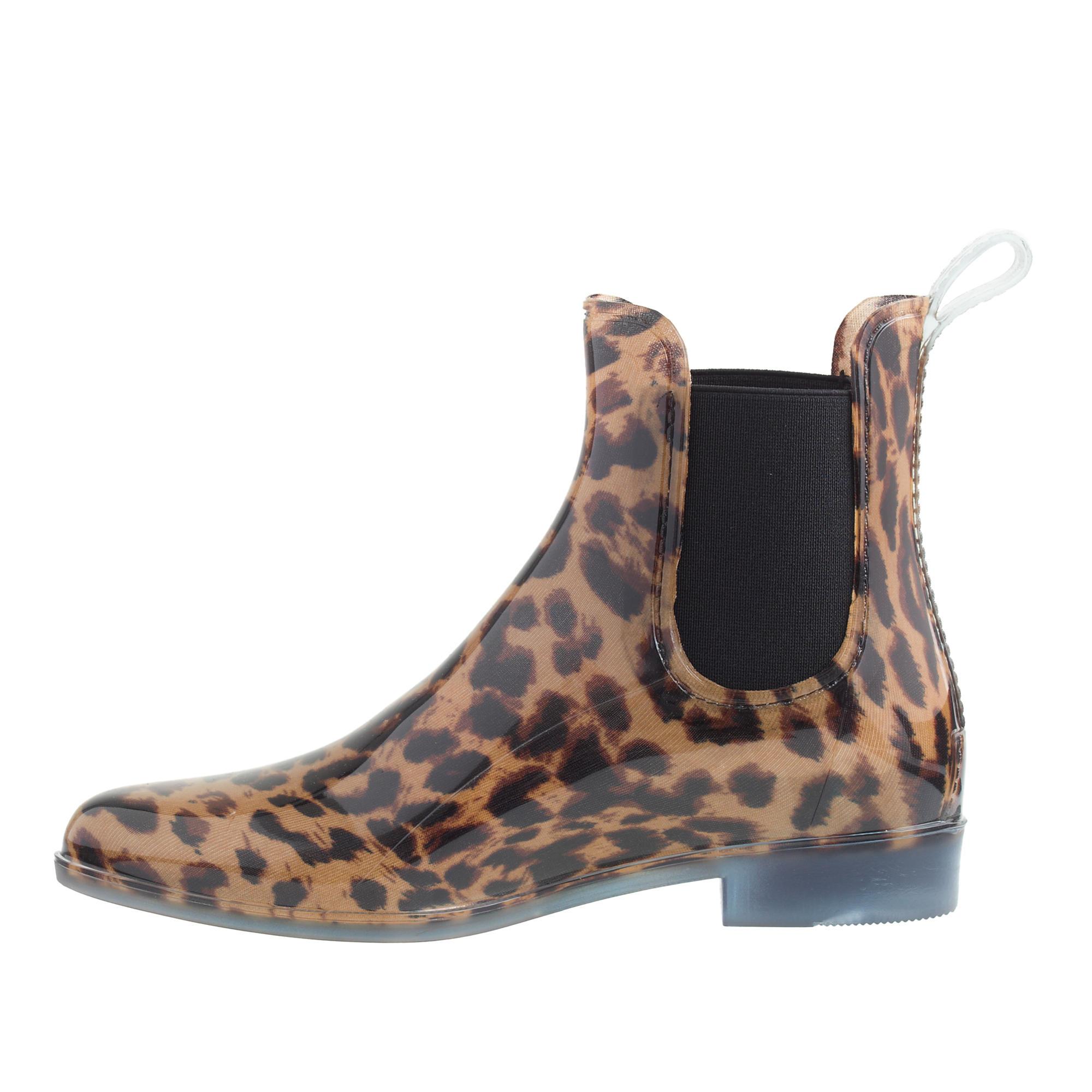 cd4033cfa163 J.Crew Chelsea Leopard Rain Boots - Lyst