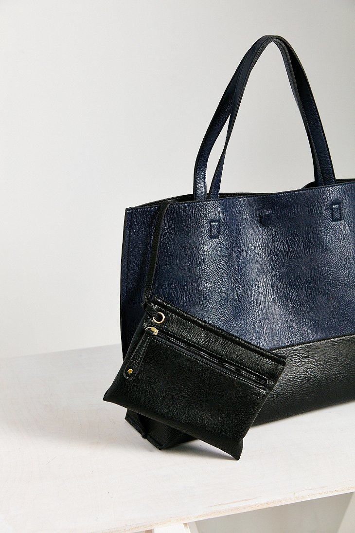 Urban Outfitters Reversible Vegan Leather Tote Bag In Blue