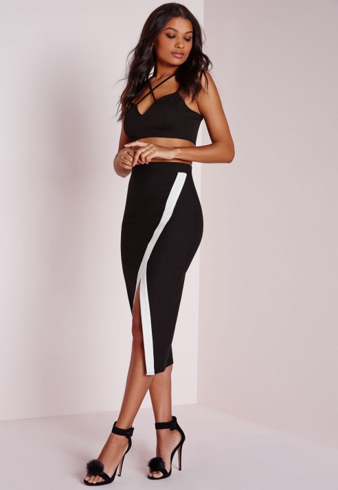 Missguided Contrast Stripe Extreme Asymmetric Midi Skirt Black in ...