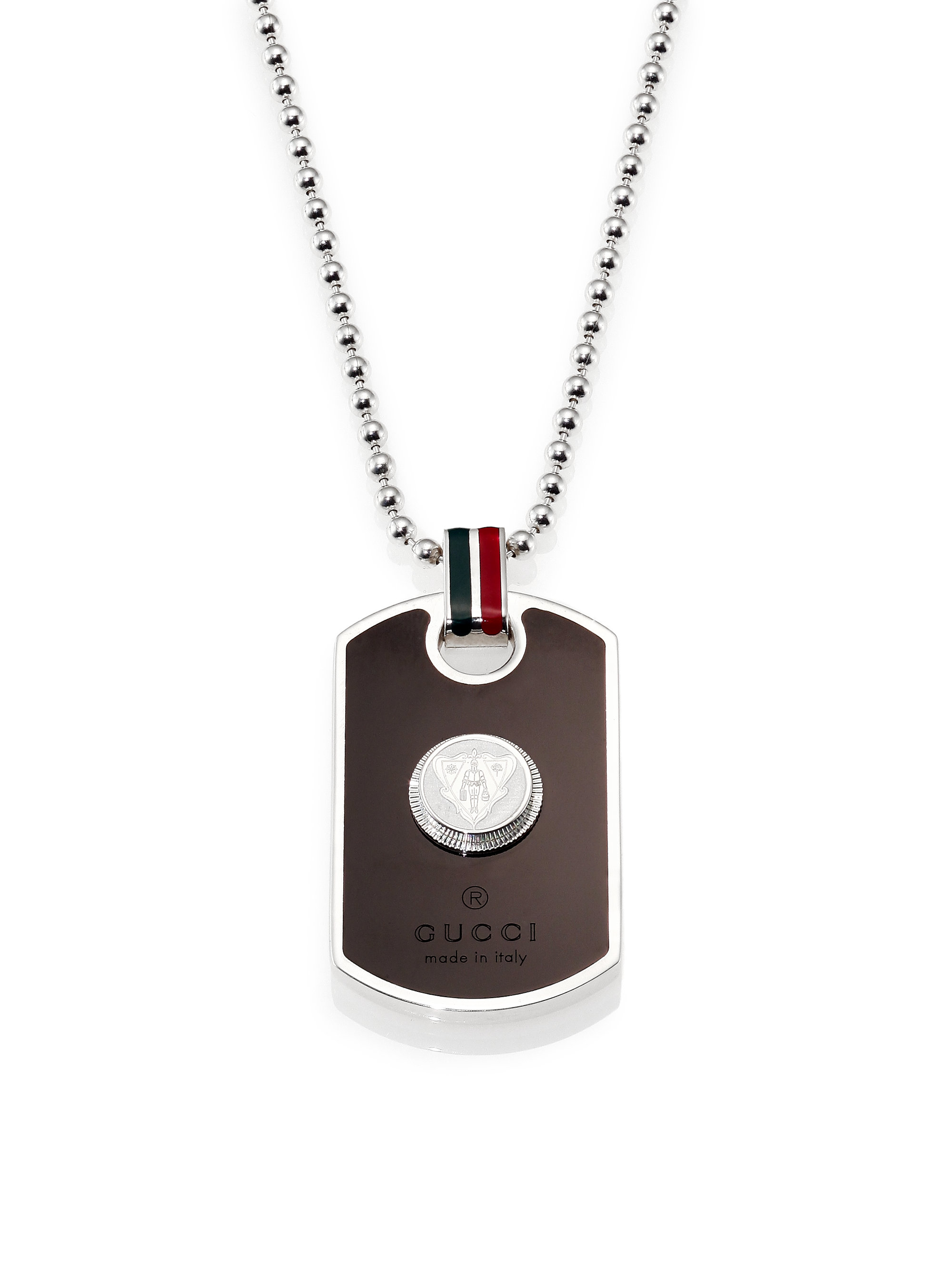 Gucci Dog Tag Necklace in Metallic for Men