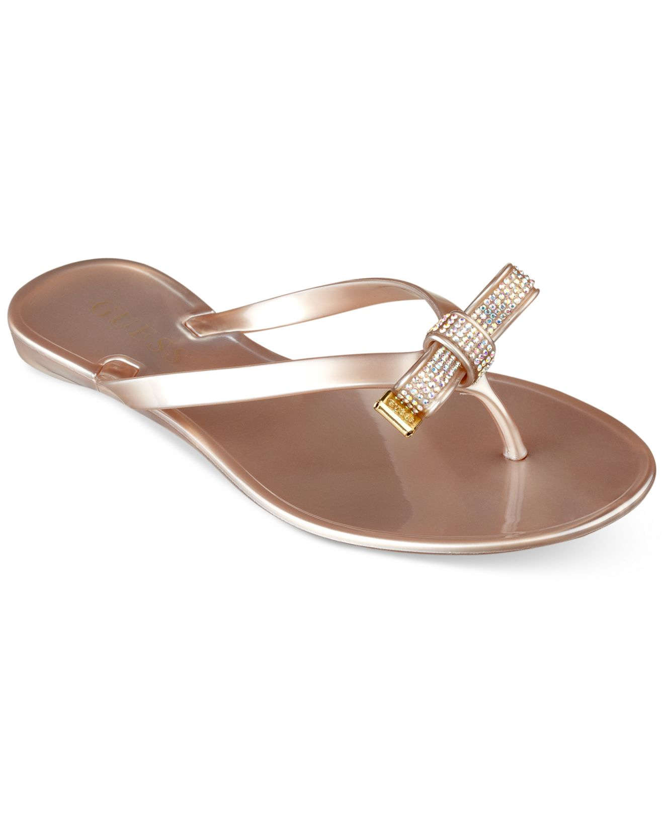 Lyst - Guess Jelsie Bow Jelly Flip Flops In Pink-5872