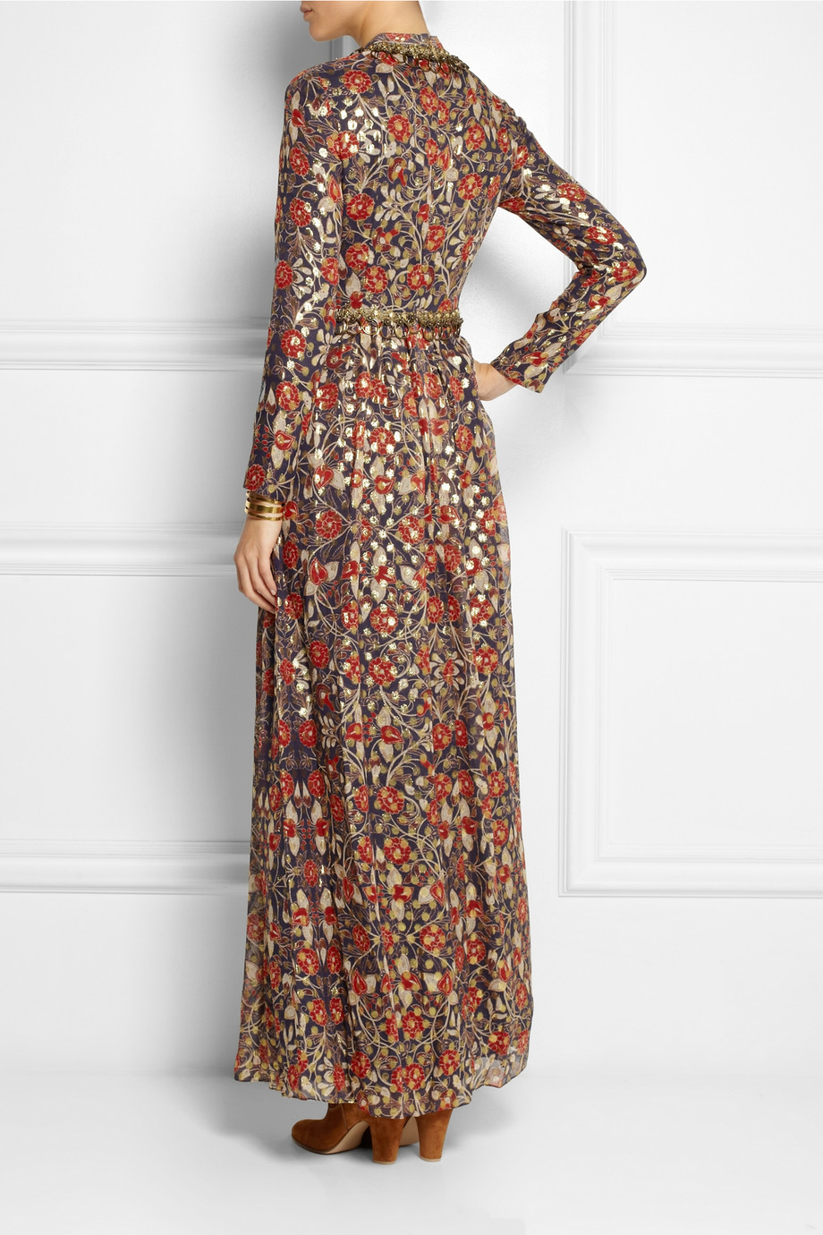 Tory burch Leane Embellished Metallic Silk-Blend Maxi Dress in Red ...