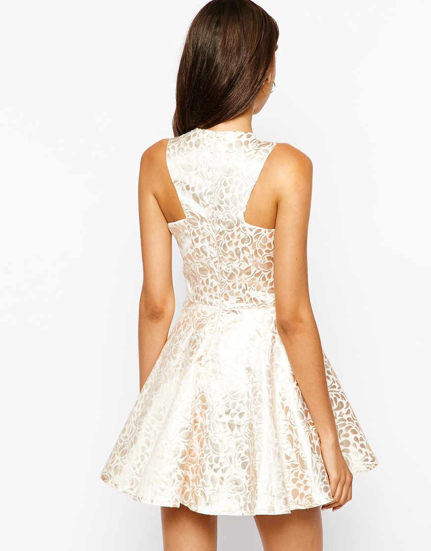 ... Ax Paris Metallic Jacquard Skater Dress in Natural - Lyst size 40 6e607  d08b3 ... d8dc096ea