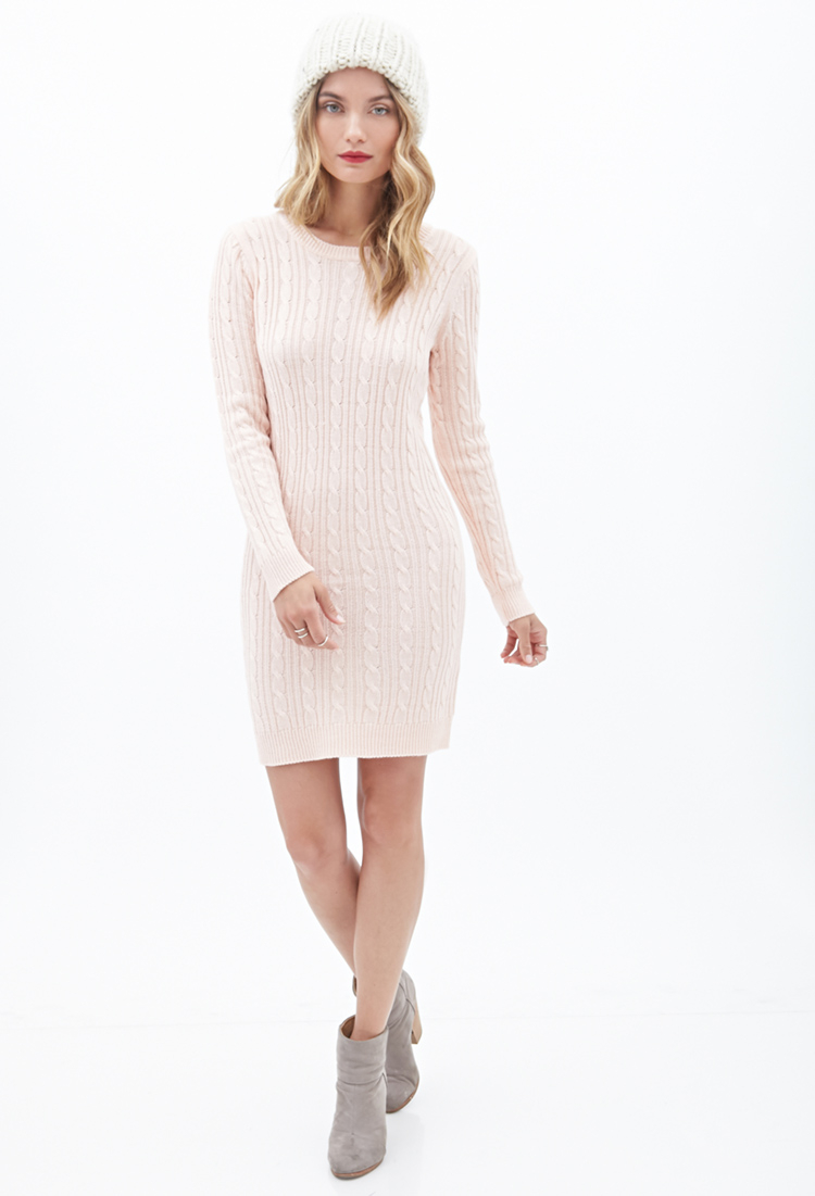 26bb9ede6ccc Lyst - Forever 21 Contemporary Cable Knit Sweater Dress in Pink
