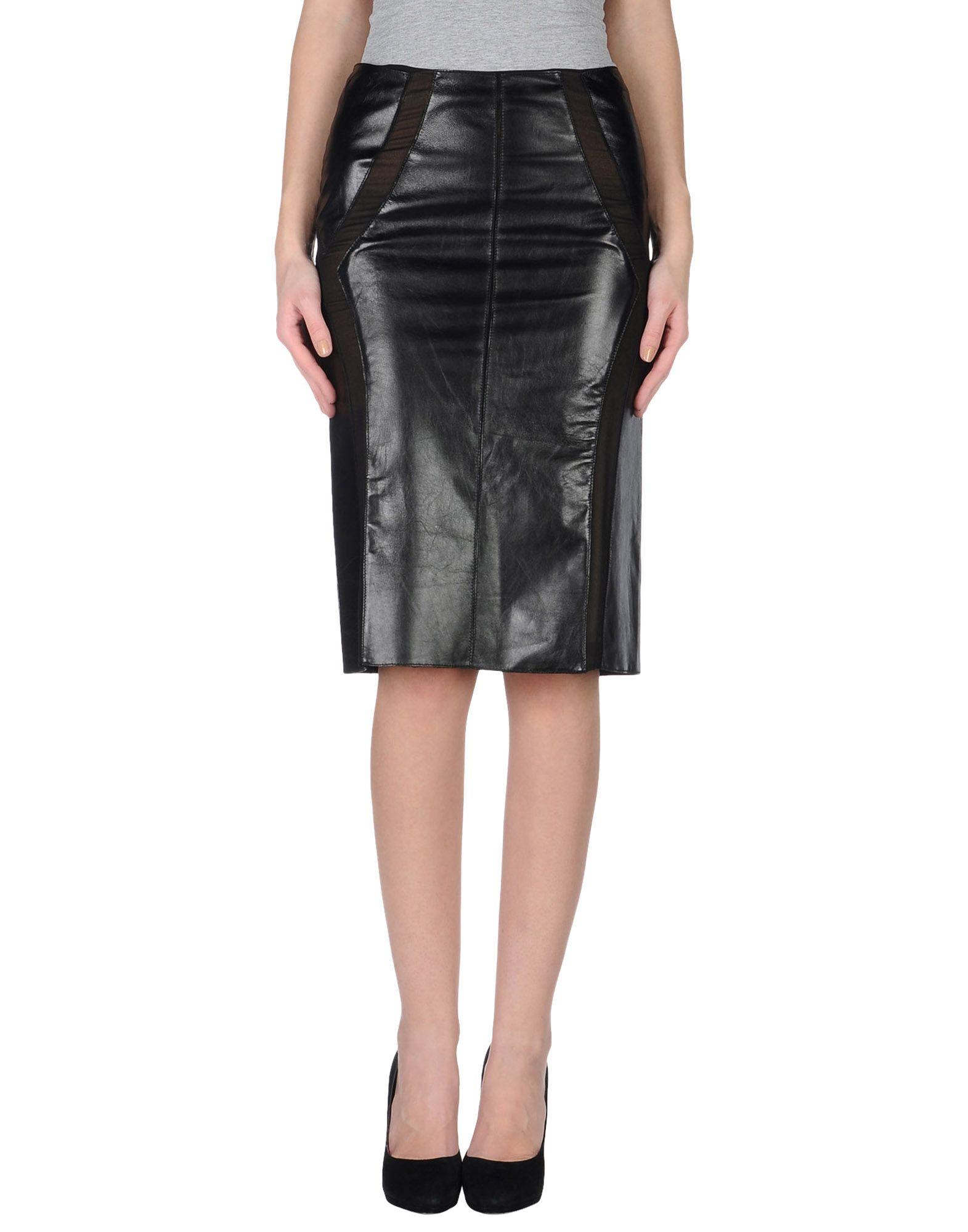alberta ferretti leather skirt in black lyst