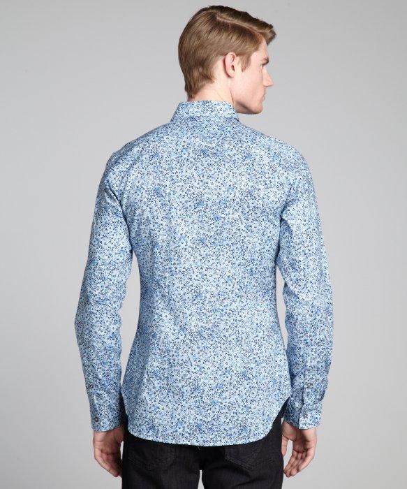 Lyst - Paul smith Light Blue Floral Print Cotton 'Lucerne' Point ...