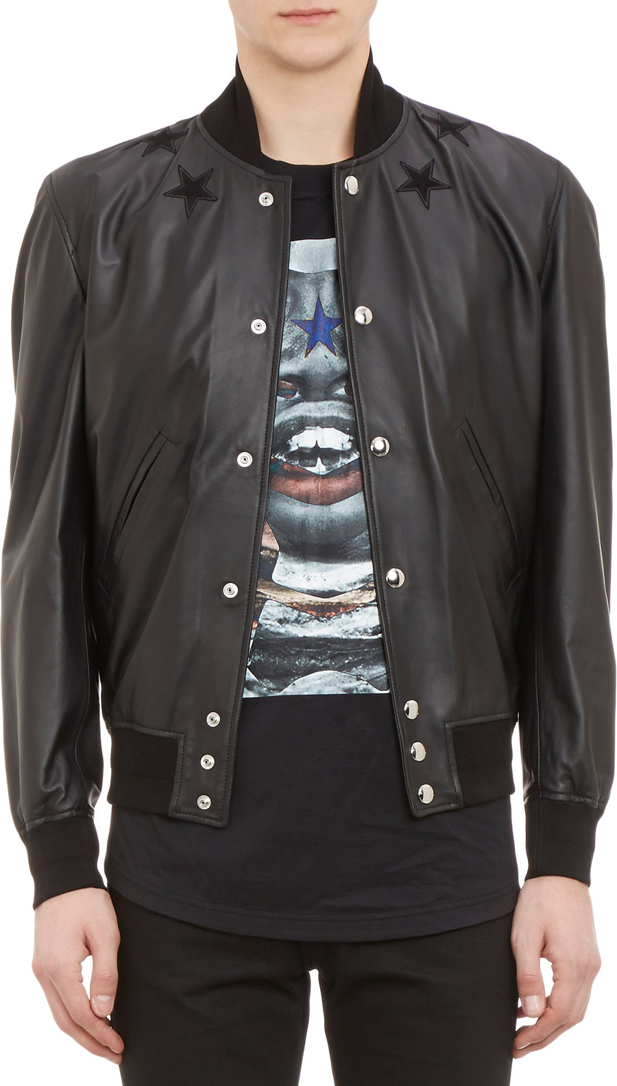 Givenchy Leather Baseball Jacket In Black For Men | Lyst