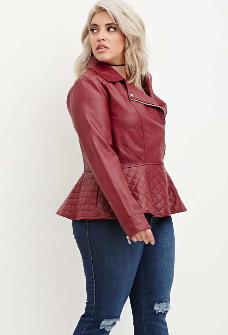 Peplum Leather Jacket Plus Size - Cairoamani.com